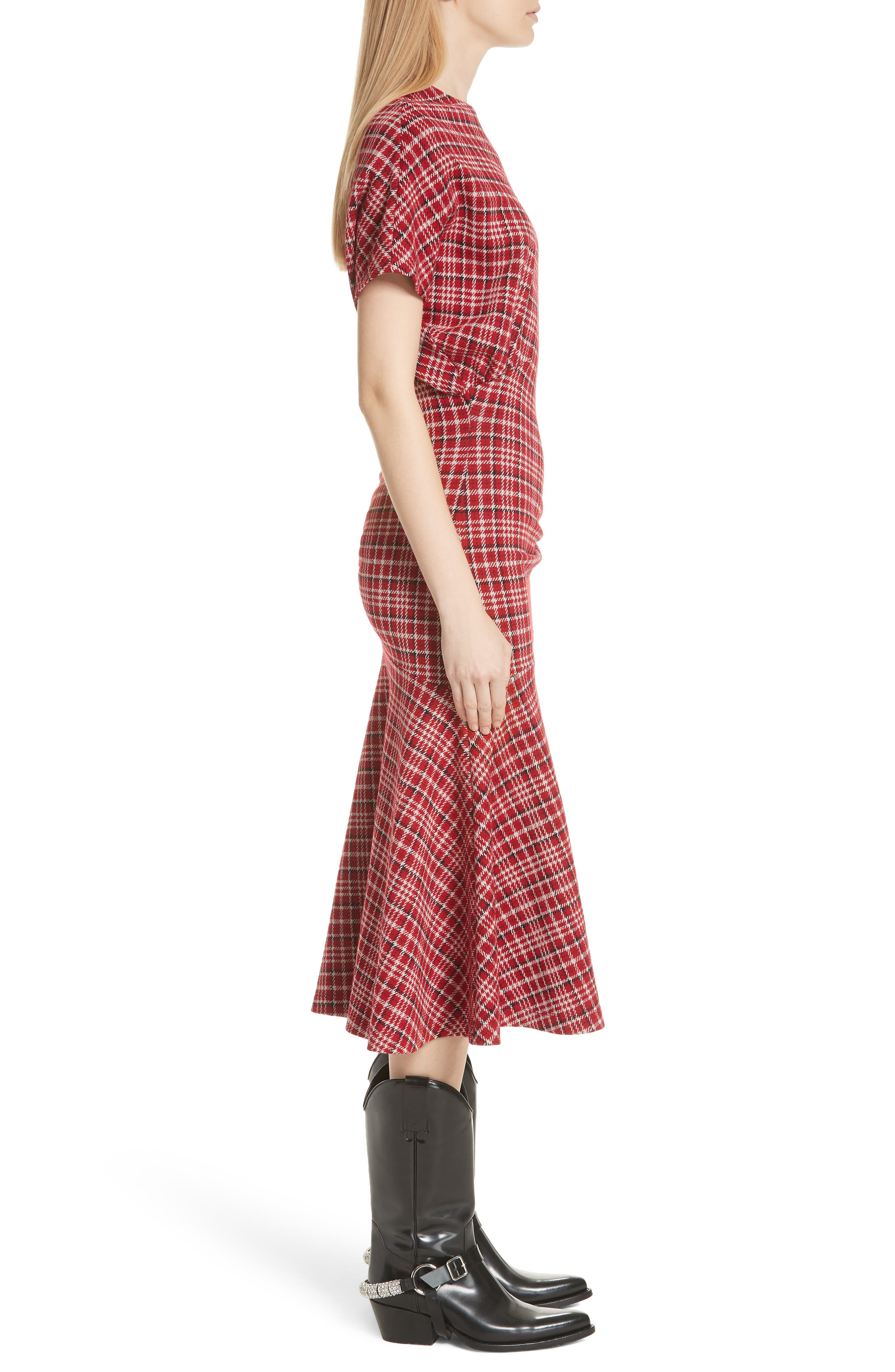 Tartan Asymmetrical Dress,                             Alternate thumbnail 3, color,                             649