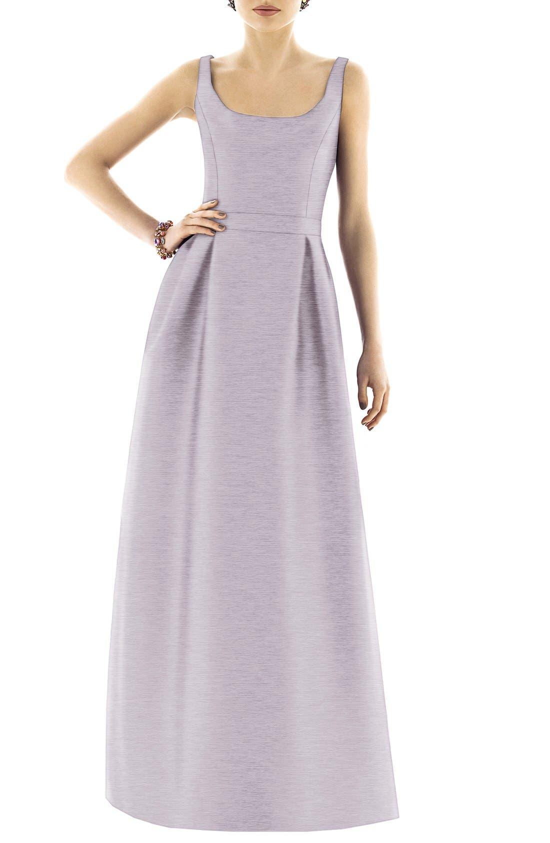 Scoop Neck Dupioni Full Length Dress,                             Alternate thumbnail 8, color,