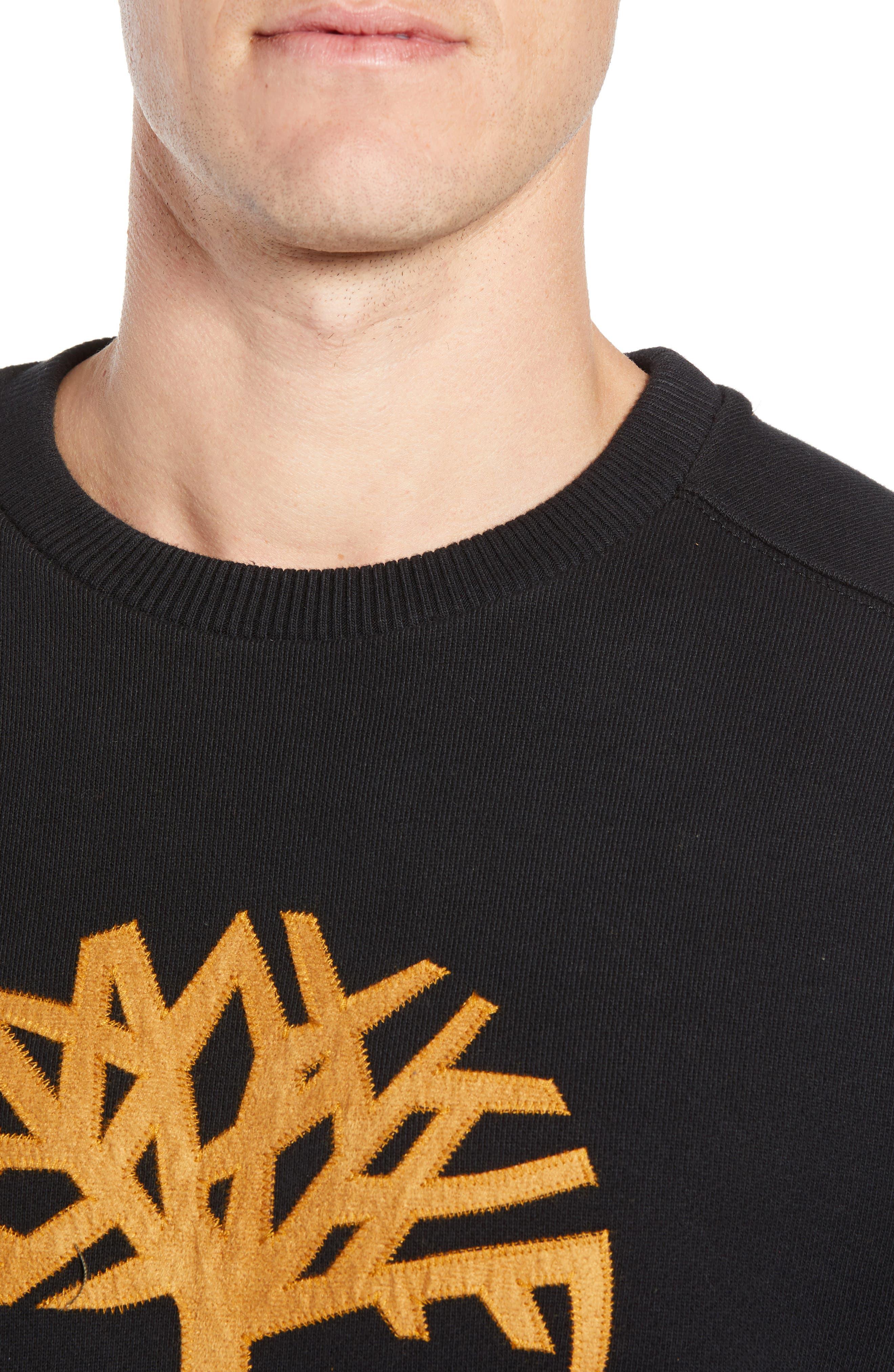 Elevated Logo Crewneck Sweatshirt,                             Alternate thumbnail 4, color,                             BLACK