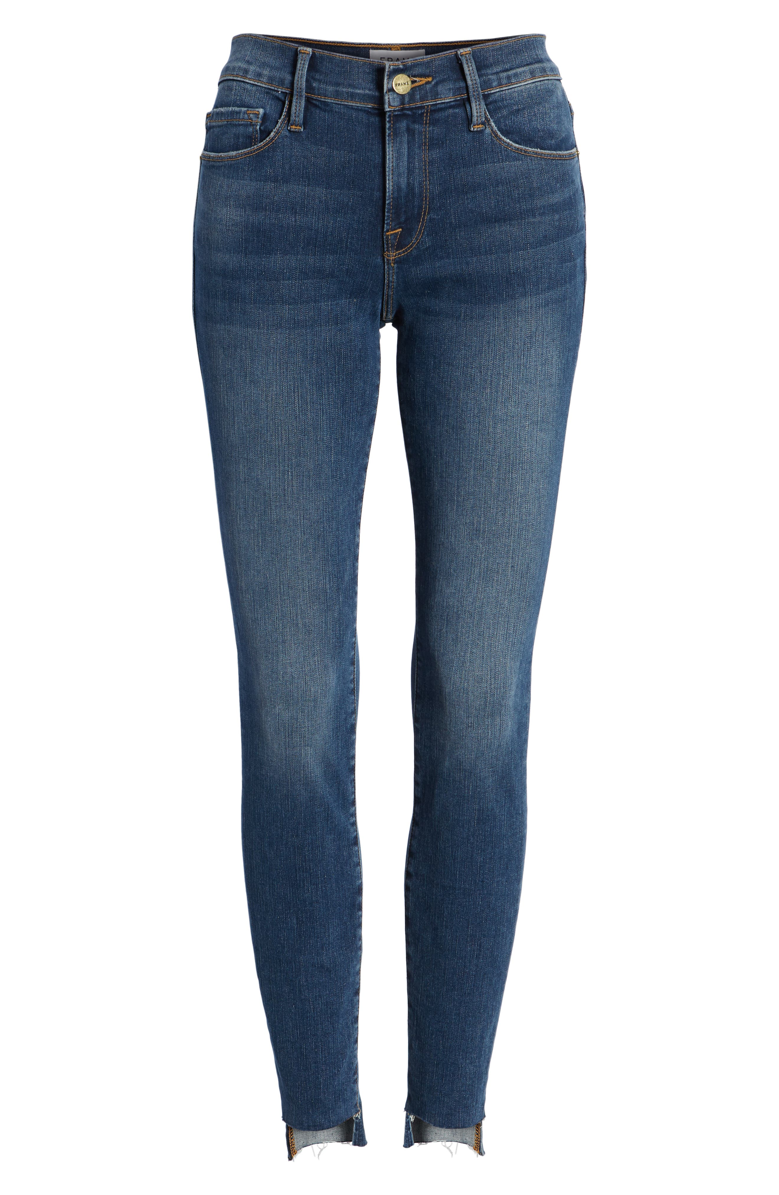 Le Skinny de Jeanne Raw Step Hem Skinny Jeans,                             Alternate thumbnail 7, color,                             WOODBINE