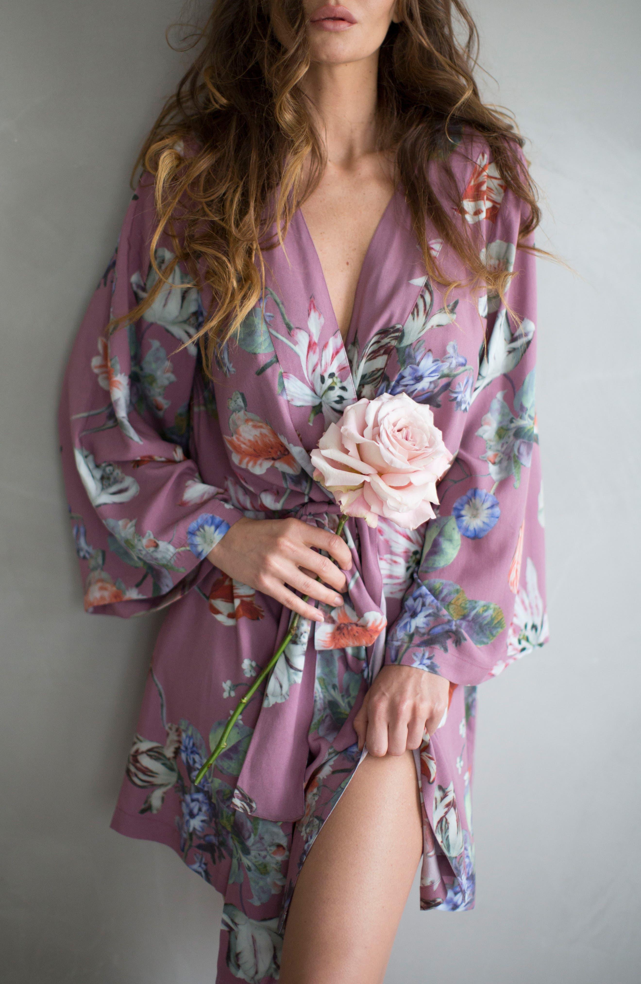 Floral Kimono Robe,                             Alternate thumbnail 4, color,