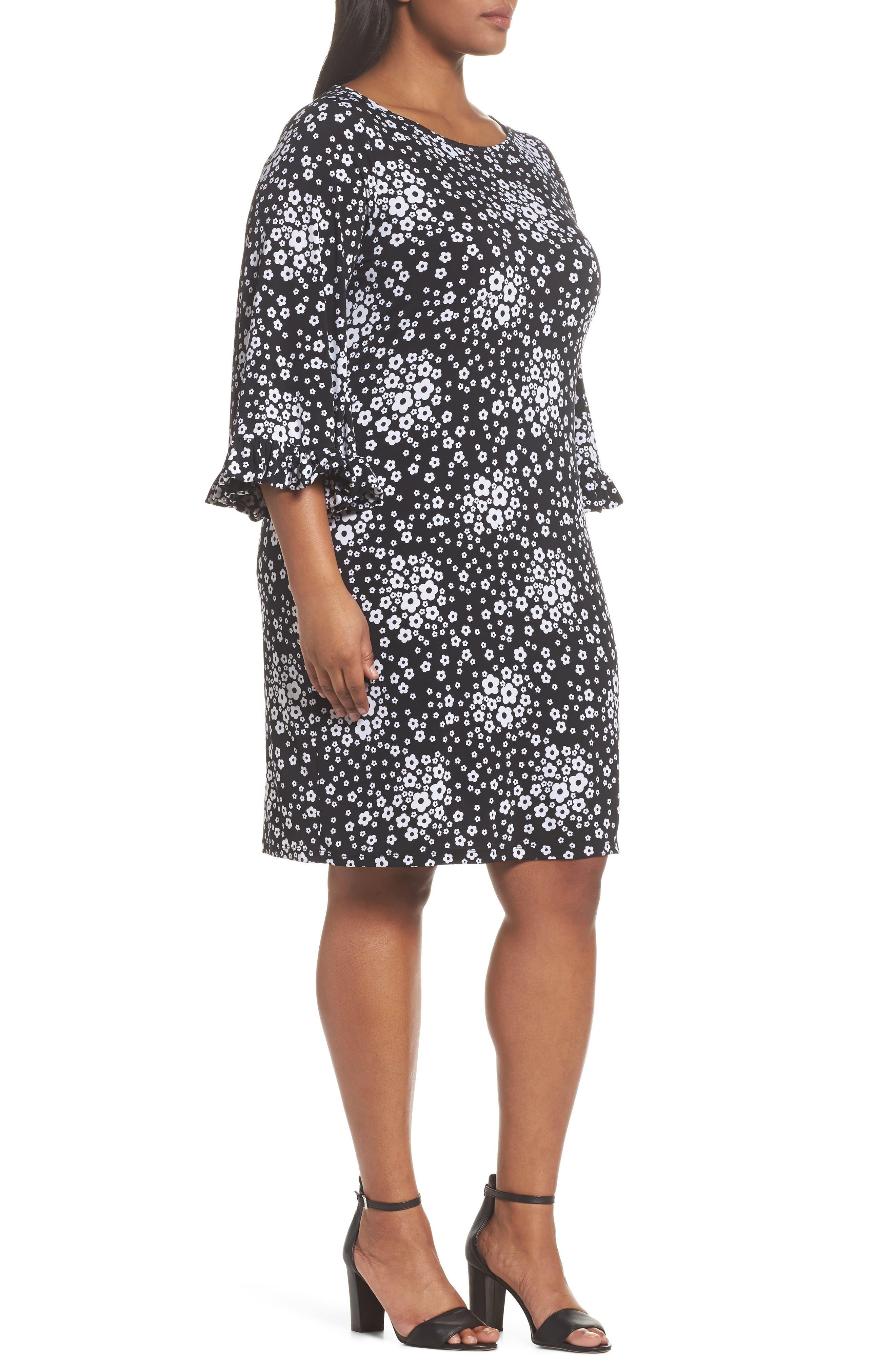 Mod Floral Flutter Sleeve Dress,                             Alternate thumbnail 3, color,                             018