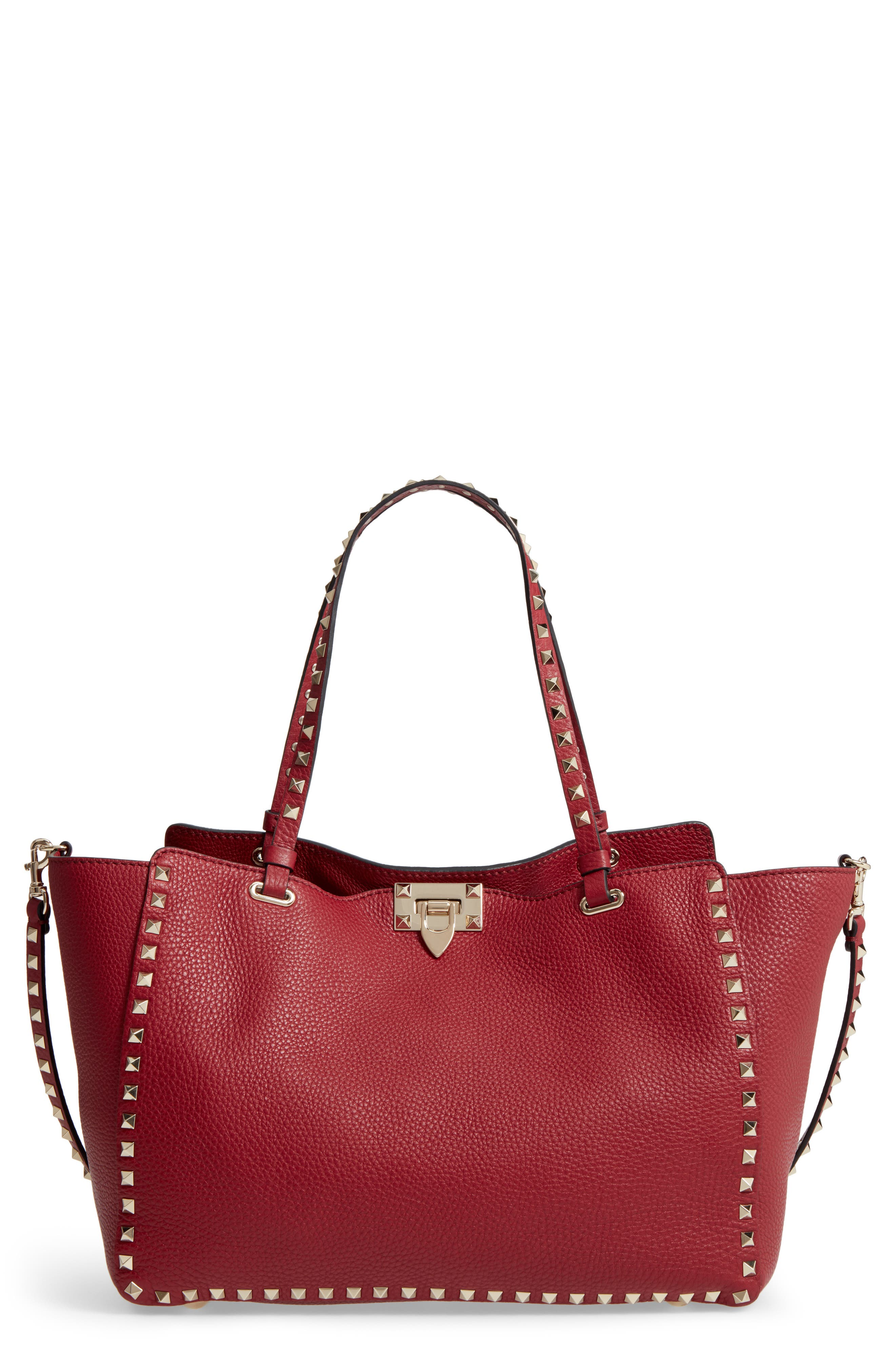 Medium Rockstud Grained Calfskin Leather Tote,                         Main,                         color, 930