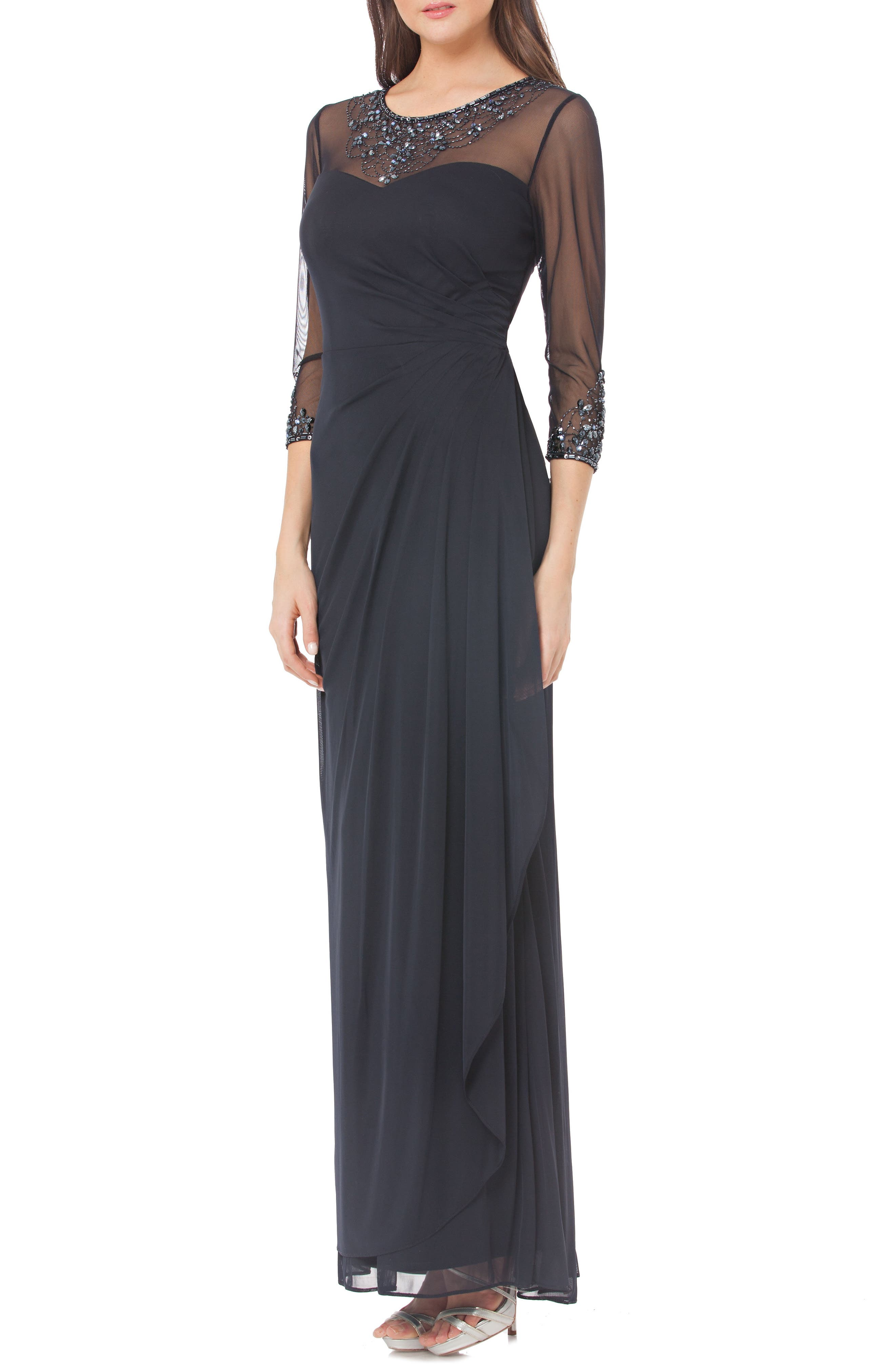 Embellished Illusion Gown,                         Main,                         color, 400