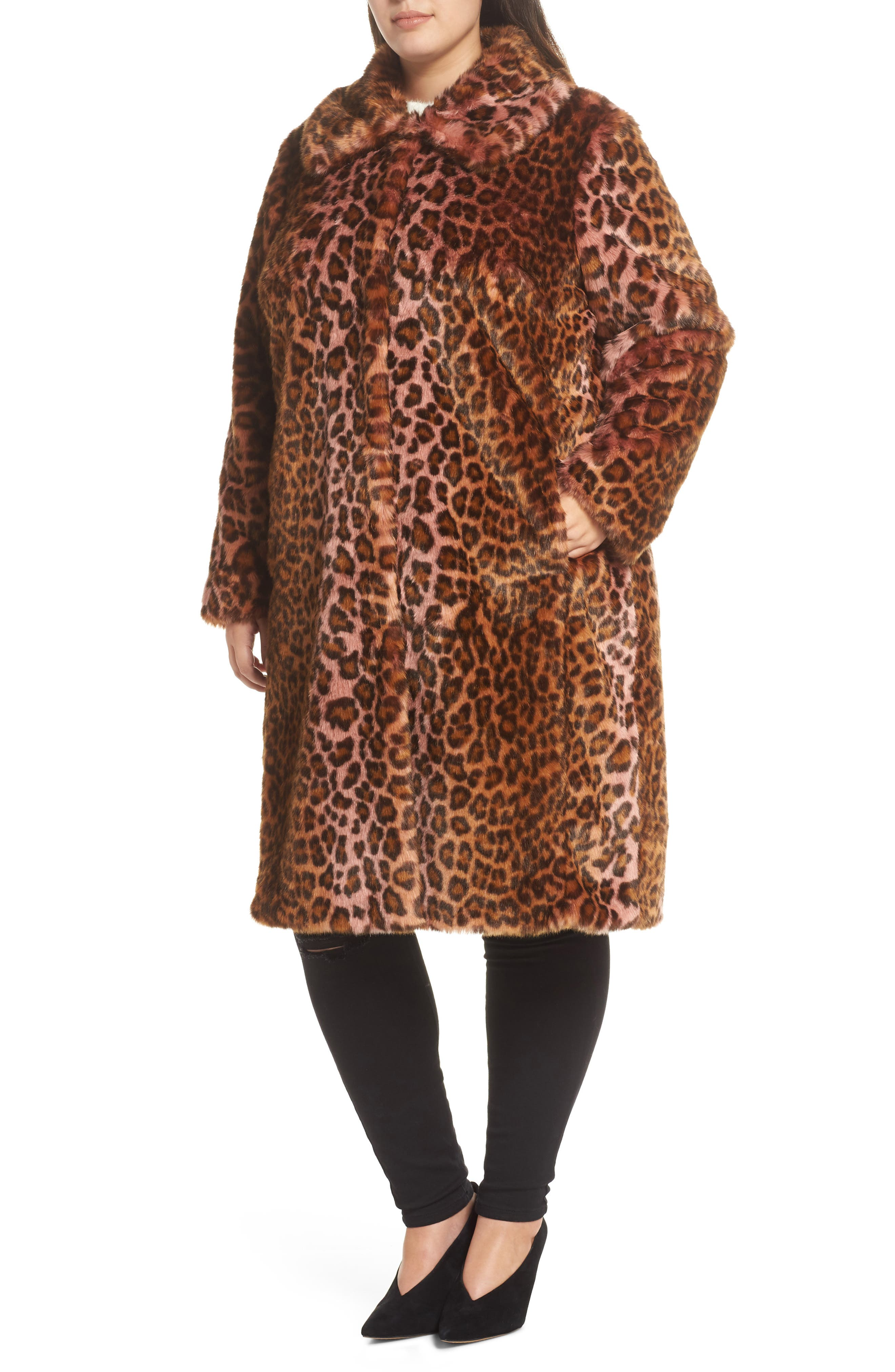 Leopard Print Faux Fur Car Coat,                             Alternate thumbnail 4, color,                             PINK LEOPARD