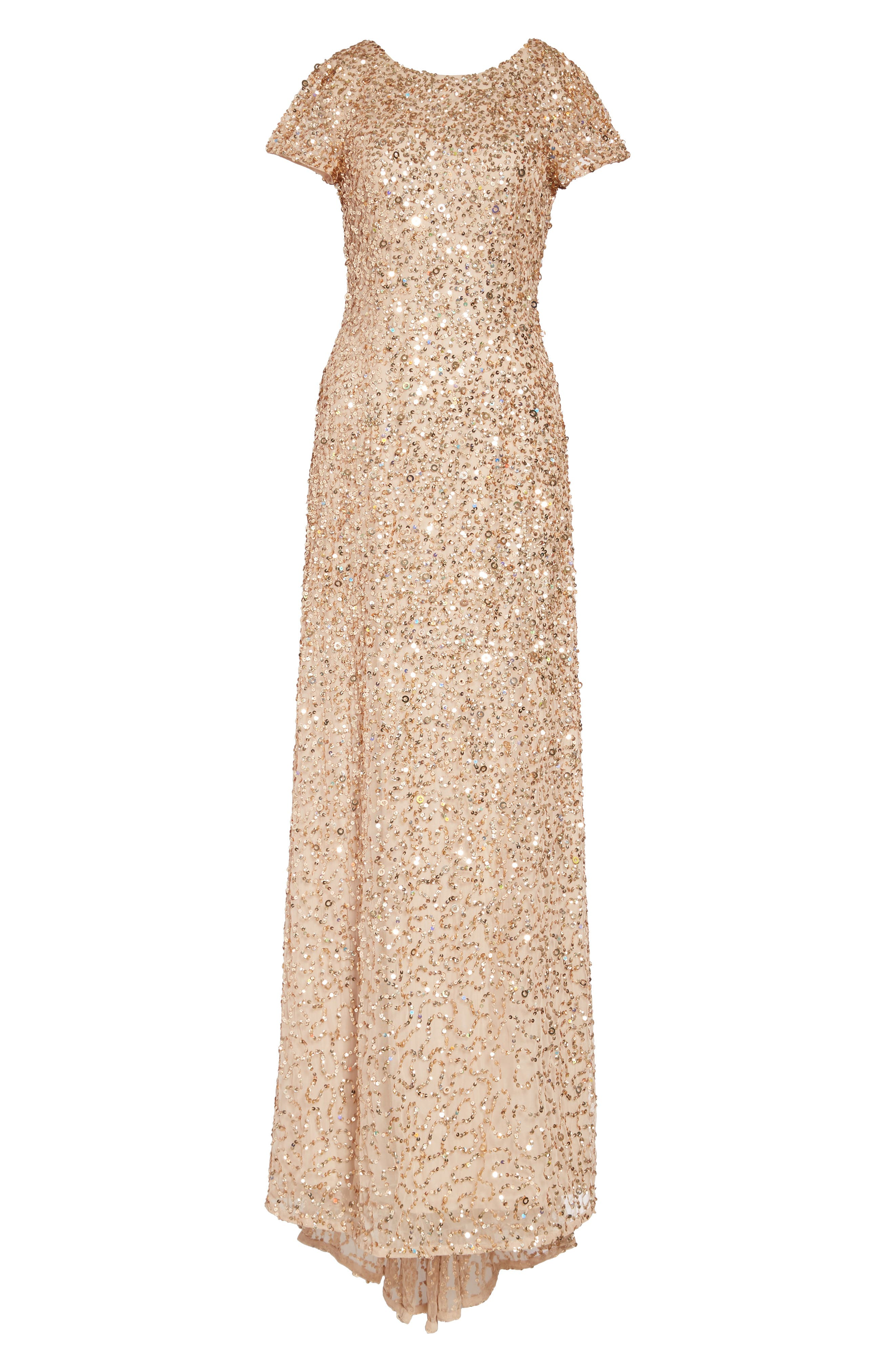 Short Sleeve Sequin Mesh Gown,                             Alternate thumbnail 6, color,                             CHAMPAGNE/ GOLD