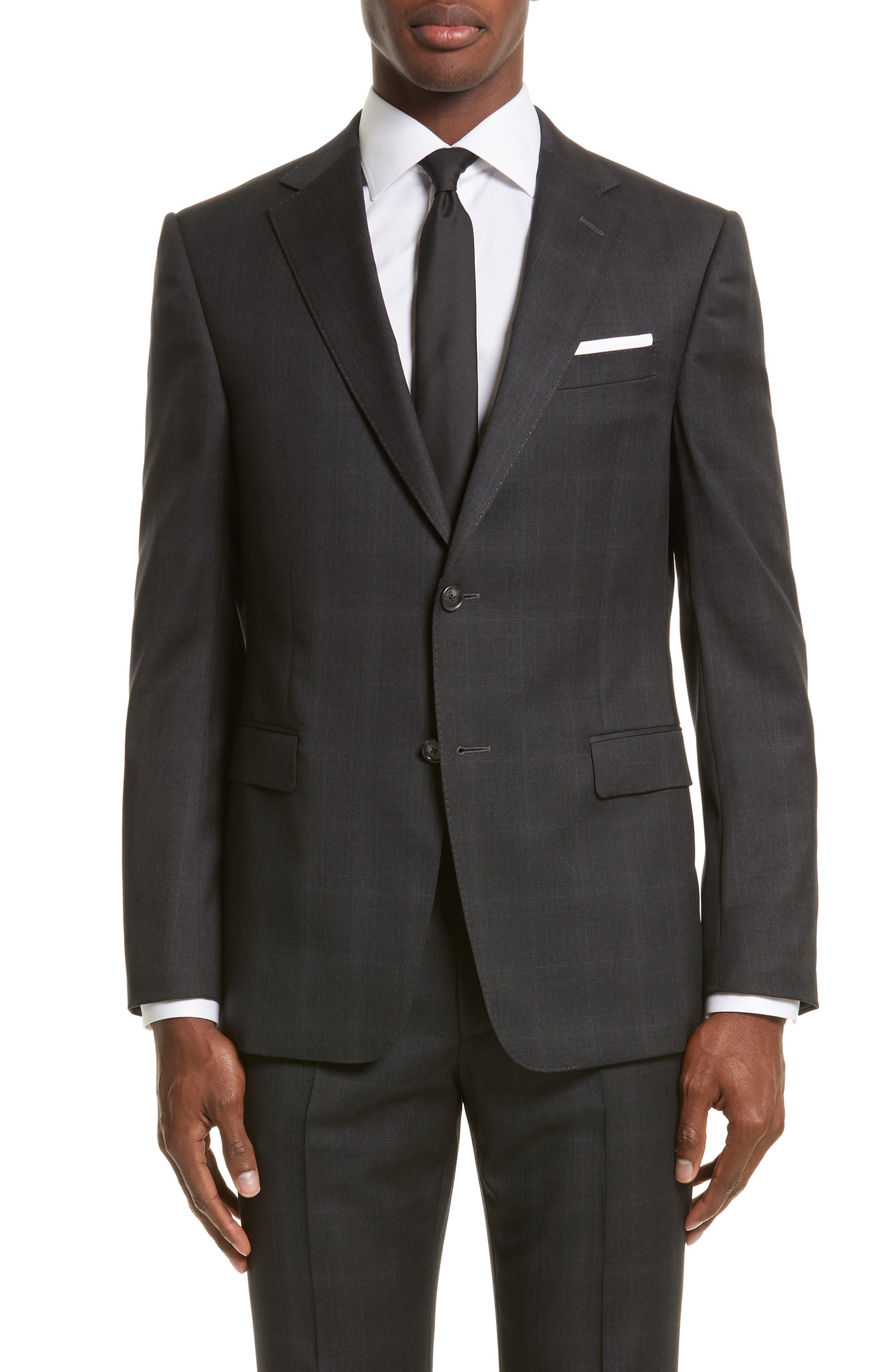 Drop 7 Trim Fit Plaid Wool Suit,                             Alternate thumbnail 5, color,                             026