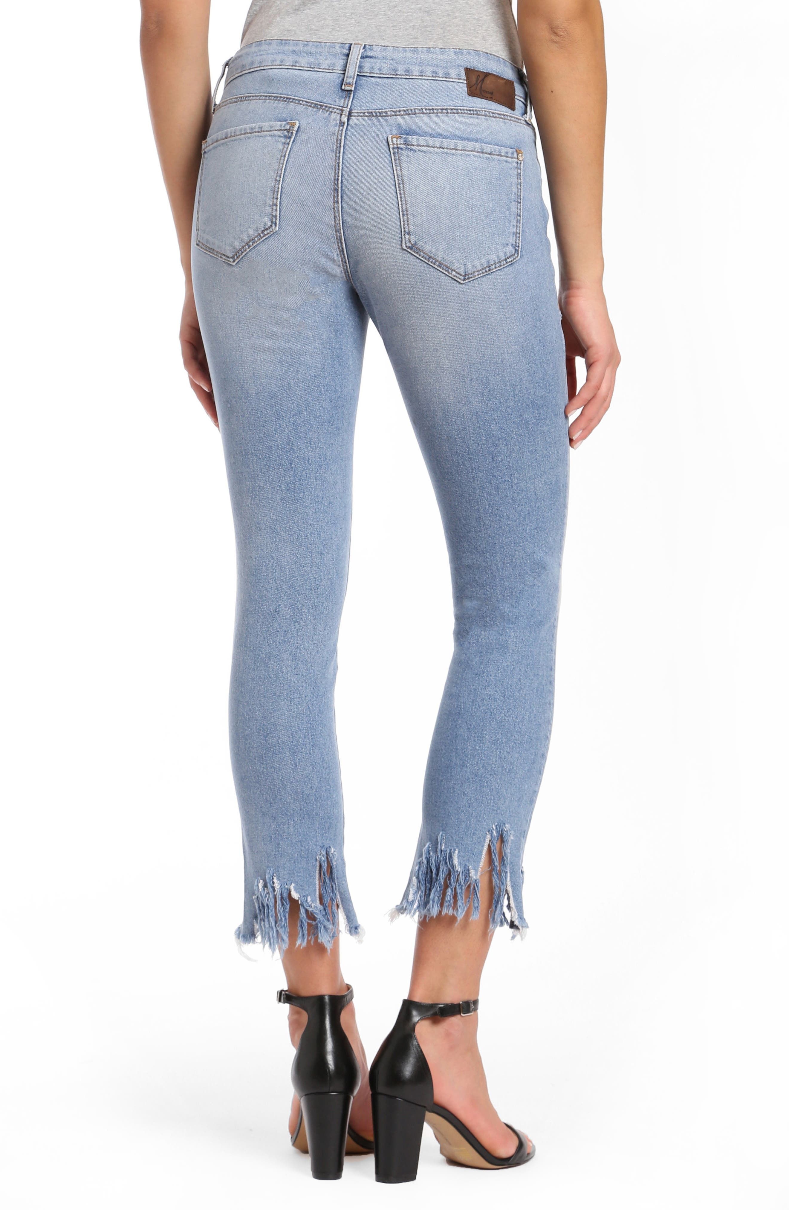Adriana Sharkbite Fringe Super Skinny Jeans,                             Alternate thumbnail 2, color,                             LIGHT FRINGE 90S