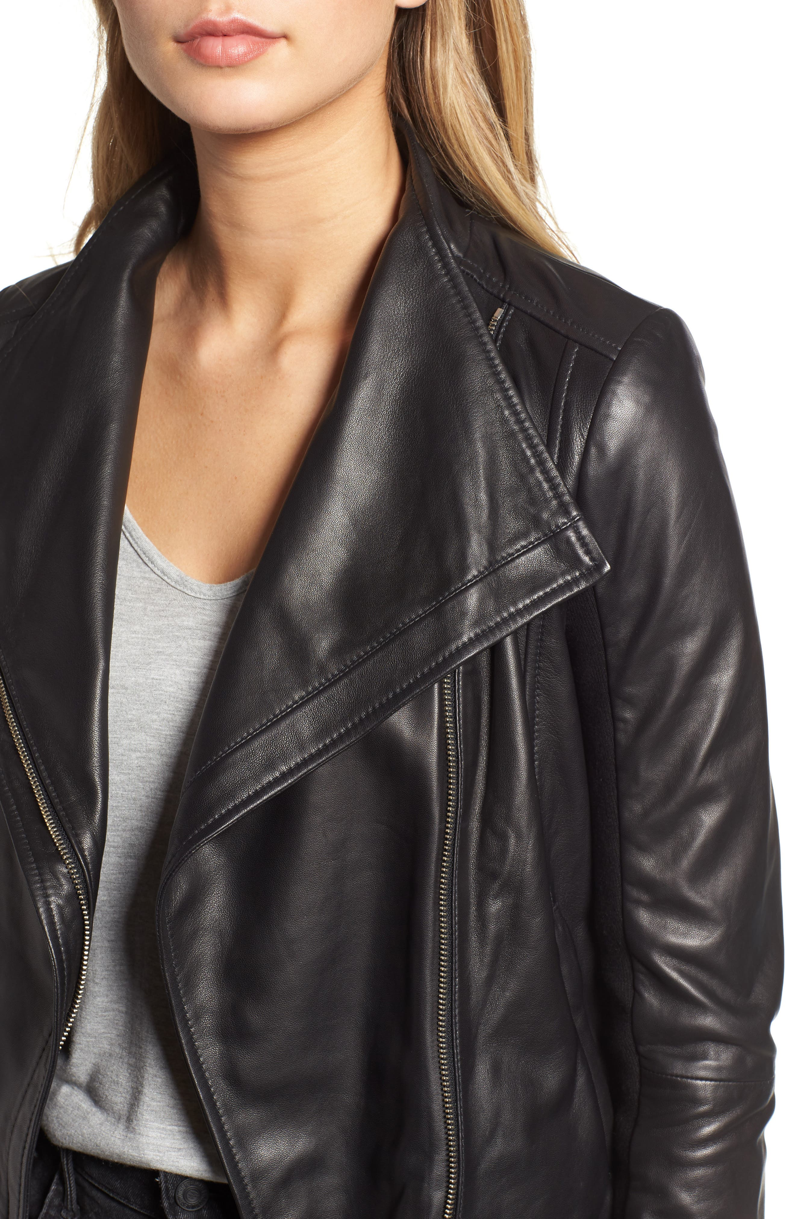 Leather Moto Jacket,                             Alternate thumbnail 5, color,                             BLACK
