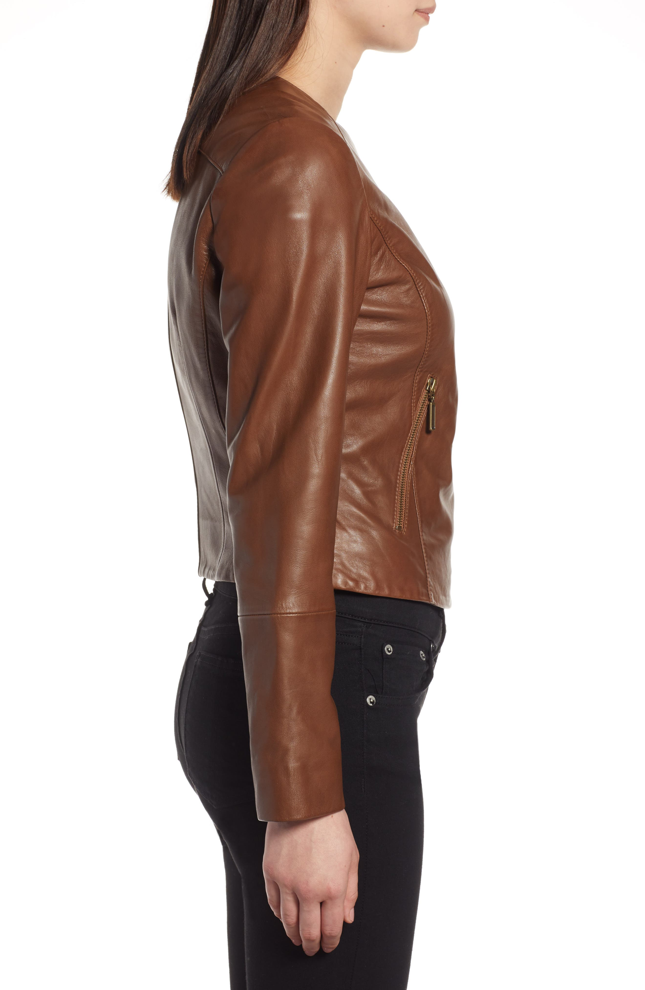 Collarless Leather Jacket,                             Alternate thumbnail 3, color,                             230