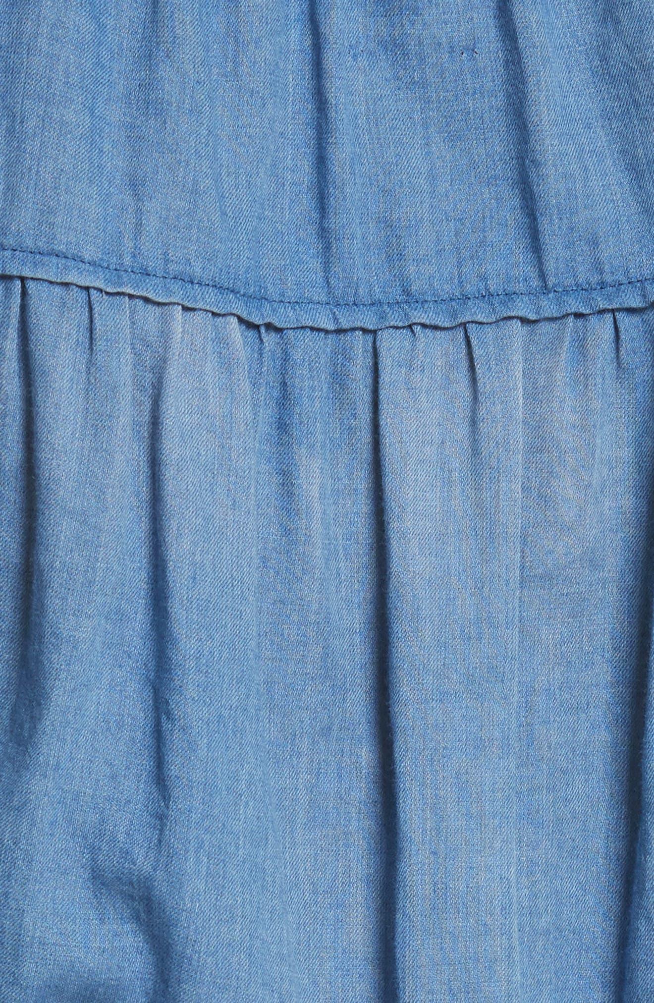 Ruffle Tissue Denim Dress,                             Alternate thumbnail 5, color,                             453