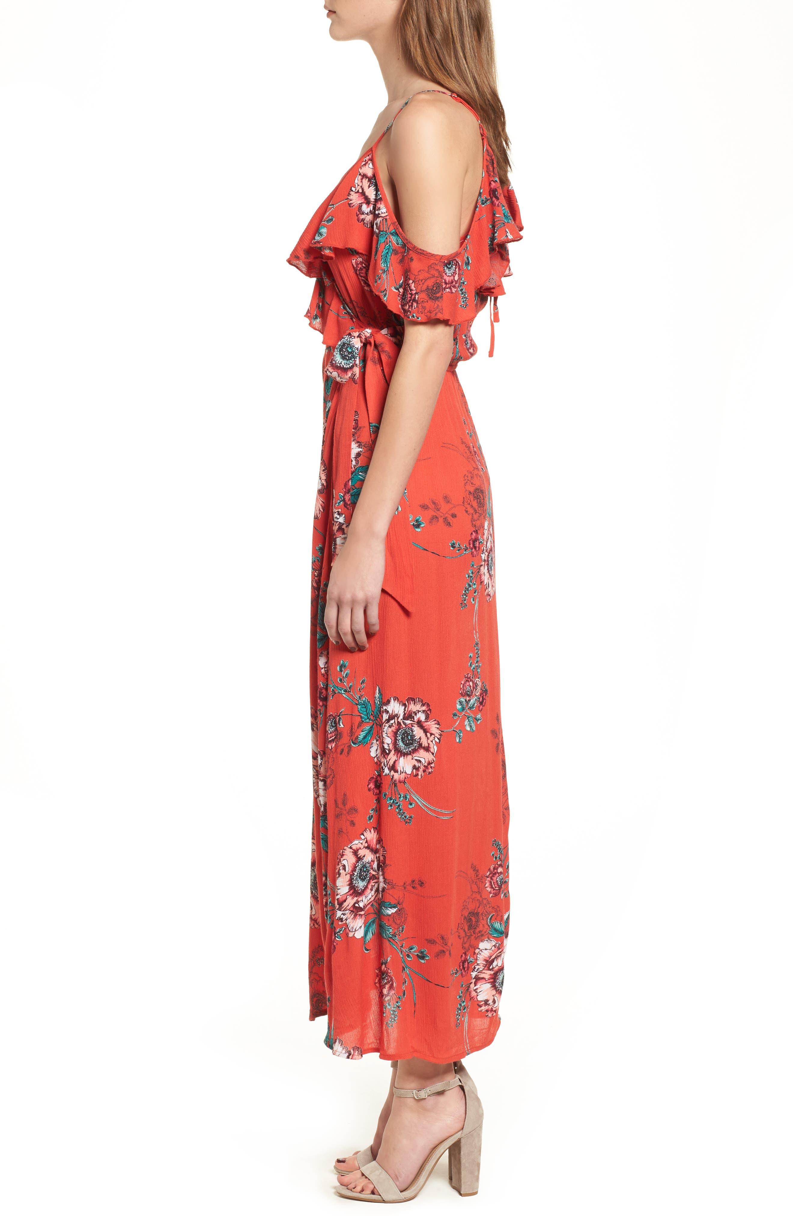 Foulard Cold Shoulder Dress,                             Alternate thumbnail 3, color,                             600