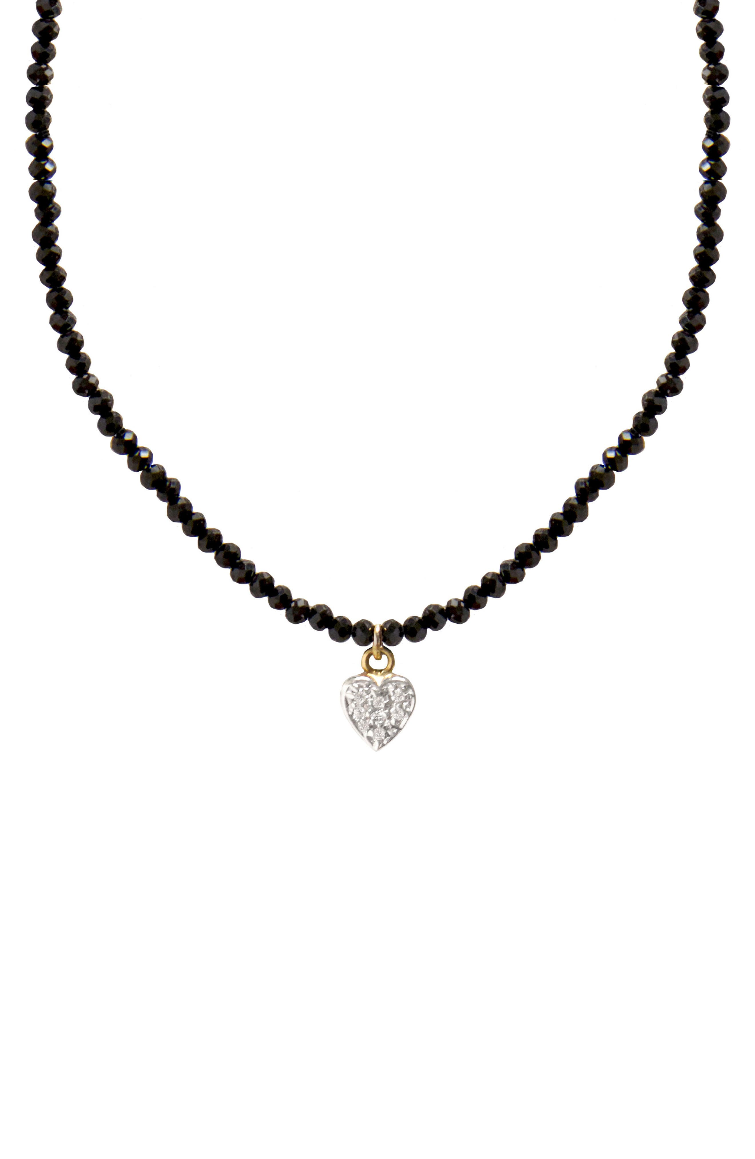 Jane Basch Diamond Heart Pendant Necklace,                             Main thumbnail 1, color,                             BLACK ONYX