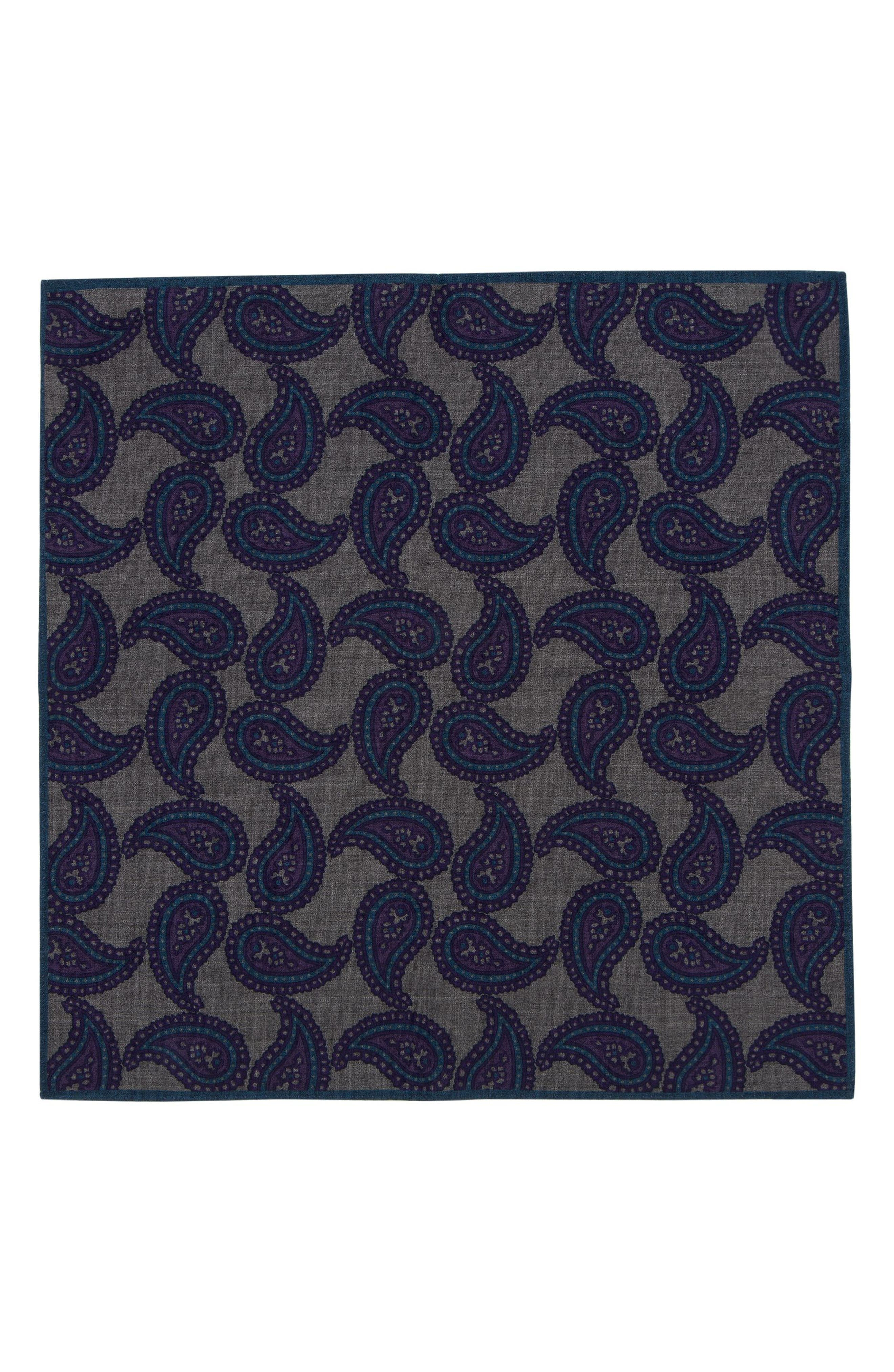Paisley Wool Pocket Square,                             Alternate thumbnail 4, color,
