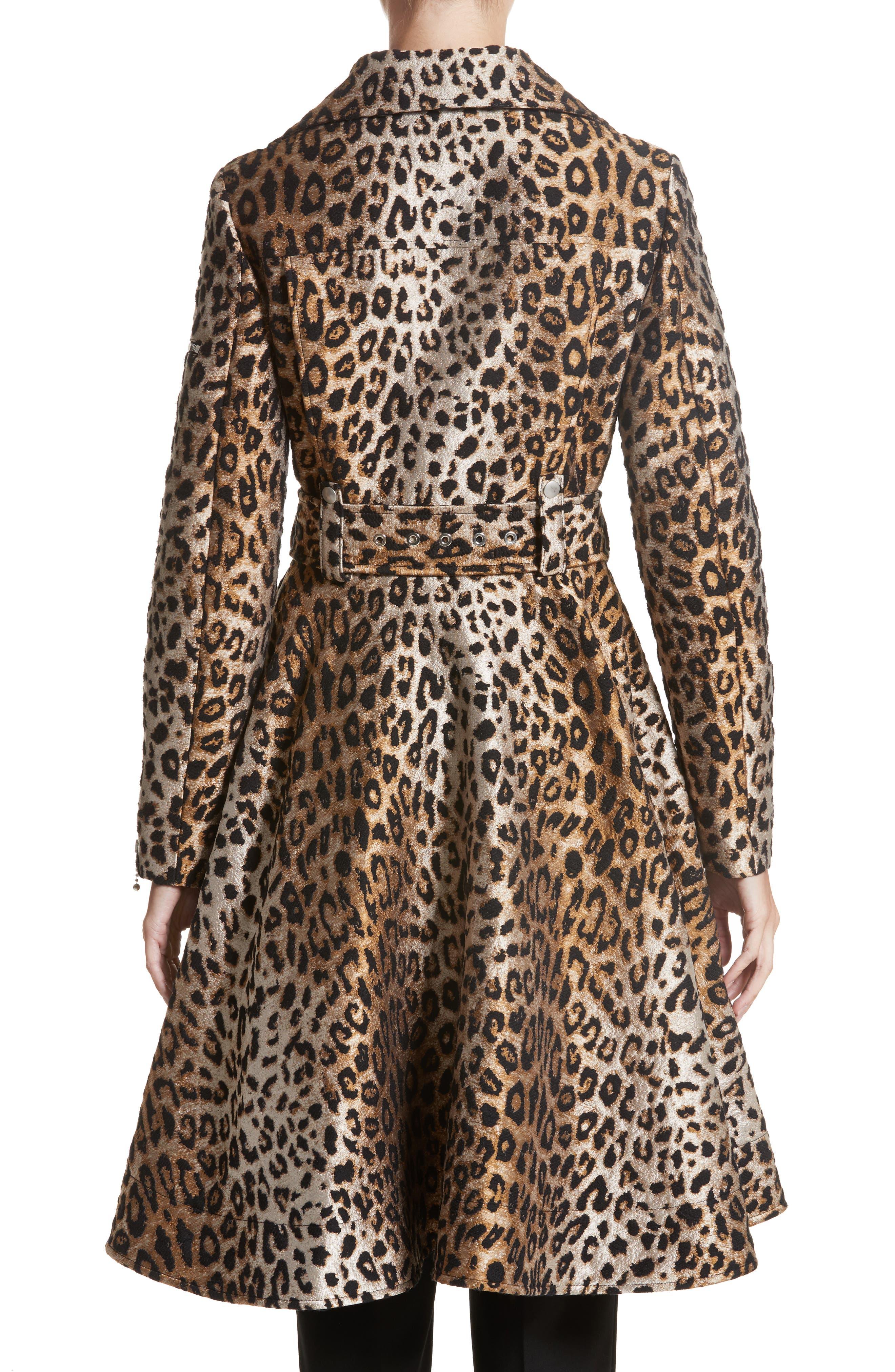 Leopard Jacquard Trench Coat,                             Alternate thumbnail 2, color,                             200