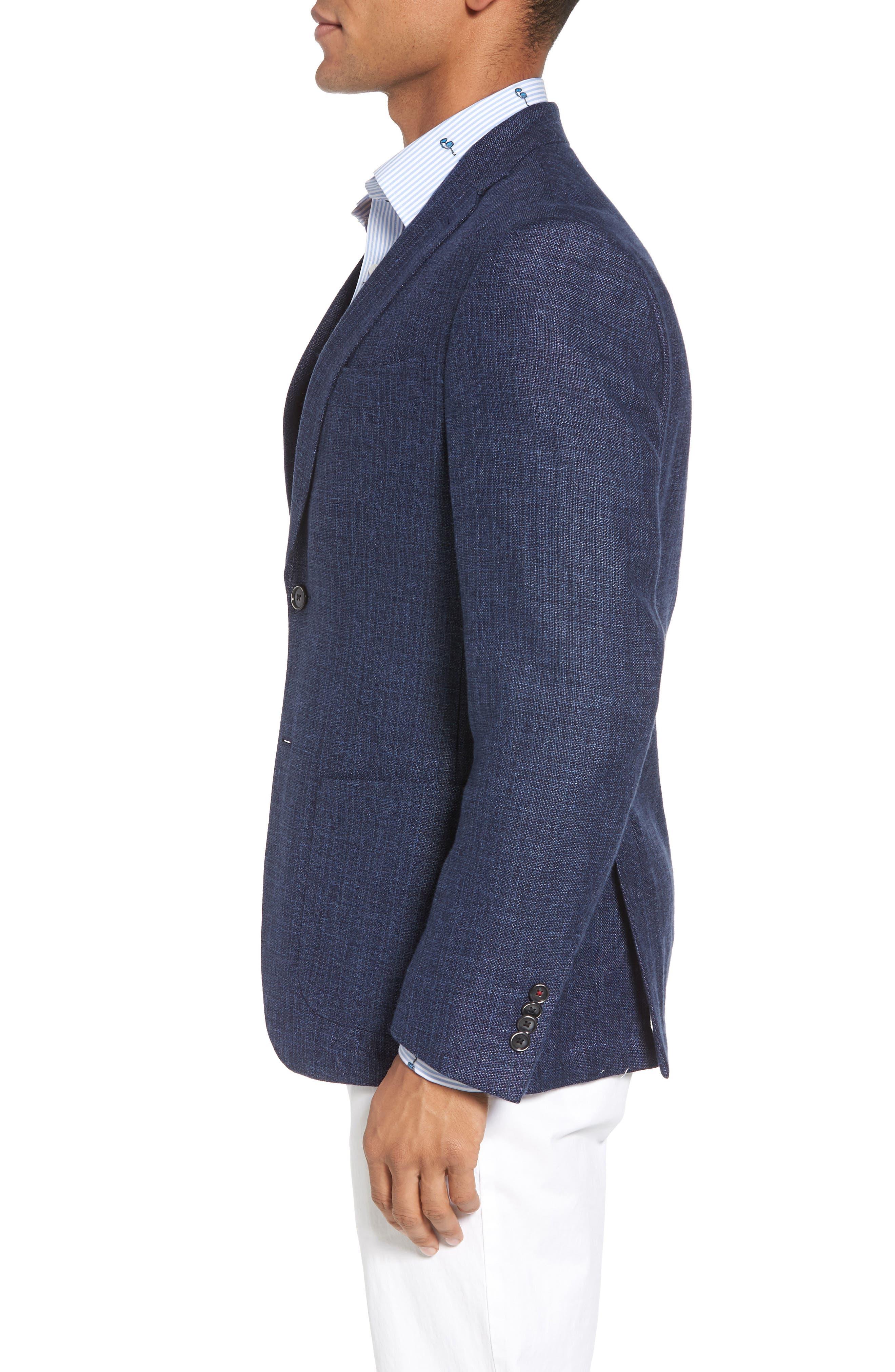 Trent Trim Fit Wool & Linen Blazer,                             Alternate thumbnail 3, color,                             410