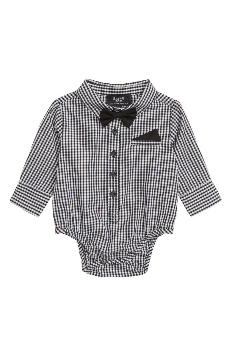 Bardot Junior Gingham Shirt Bodysuit Baby Boys Toddler Boys