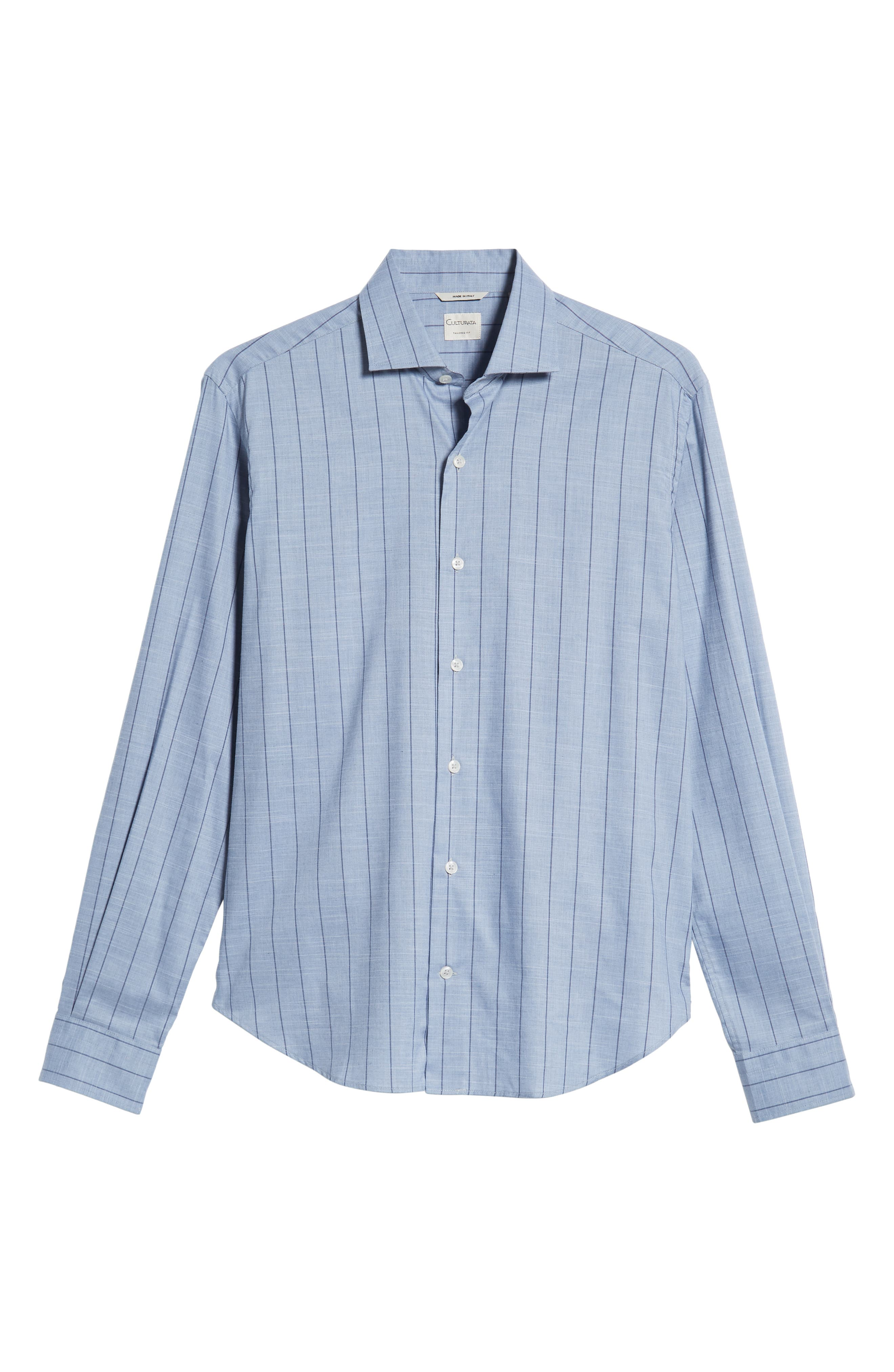 Tailored Fit Stripe Sport Shirt,                             Alternate thumbnail 5, color,                             400