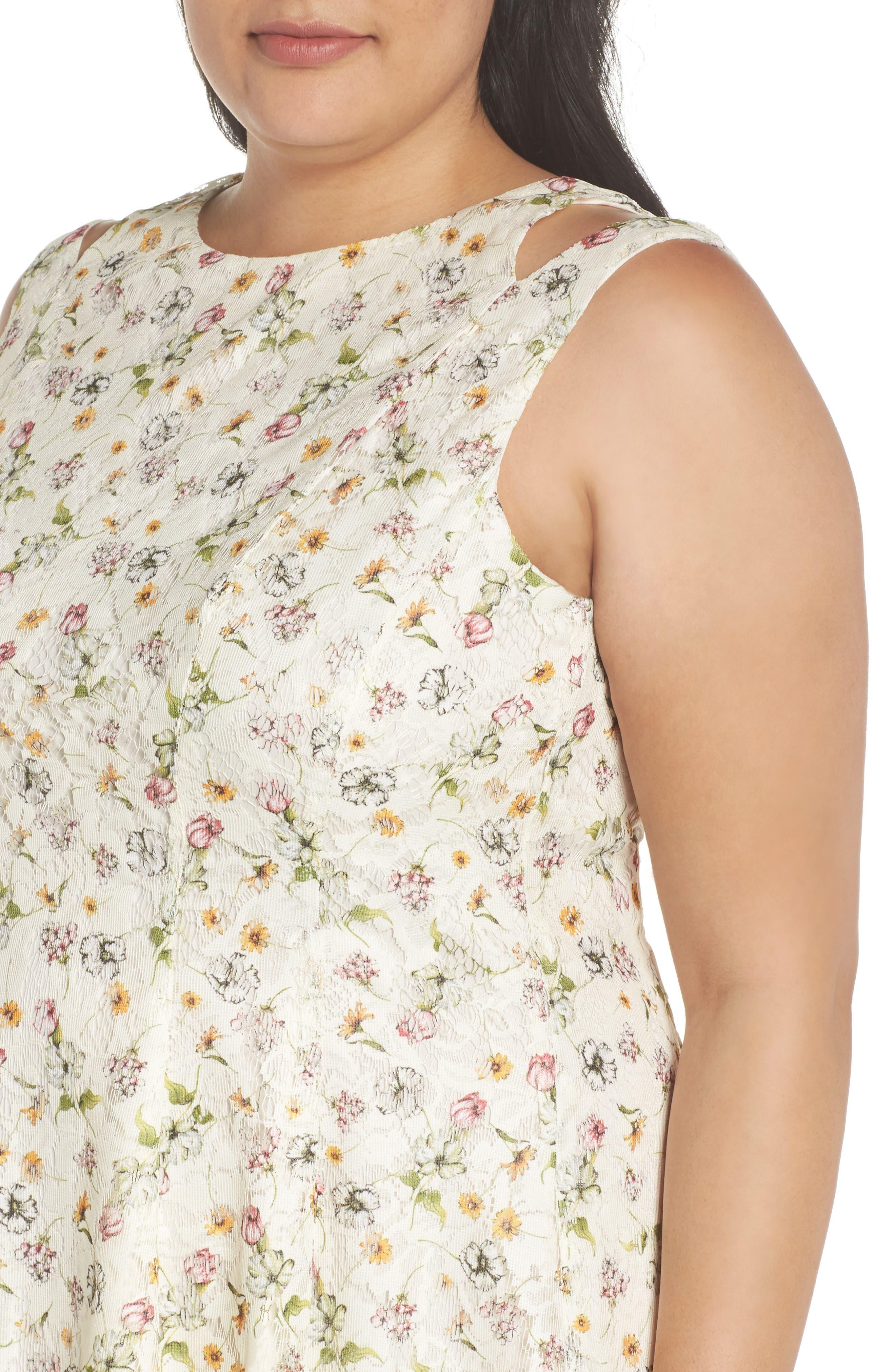 Cutout Shoulder Floral Print Lace Dress,                             Alternate thumbnail 4, color,                             111