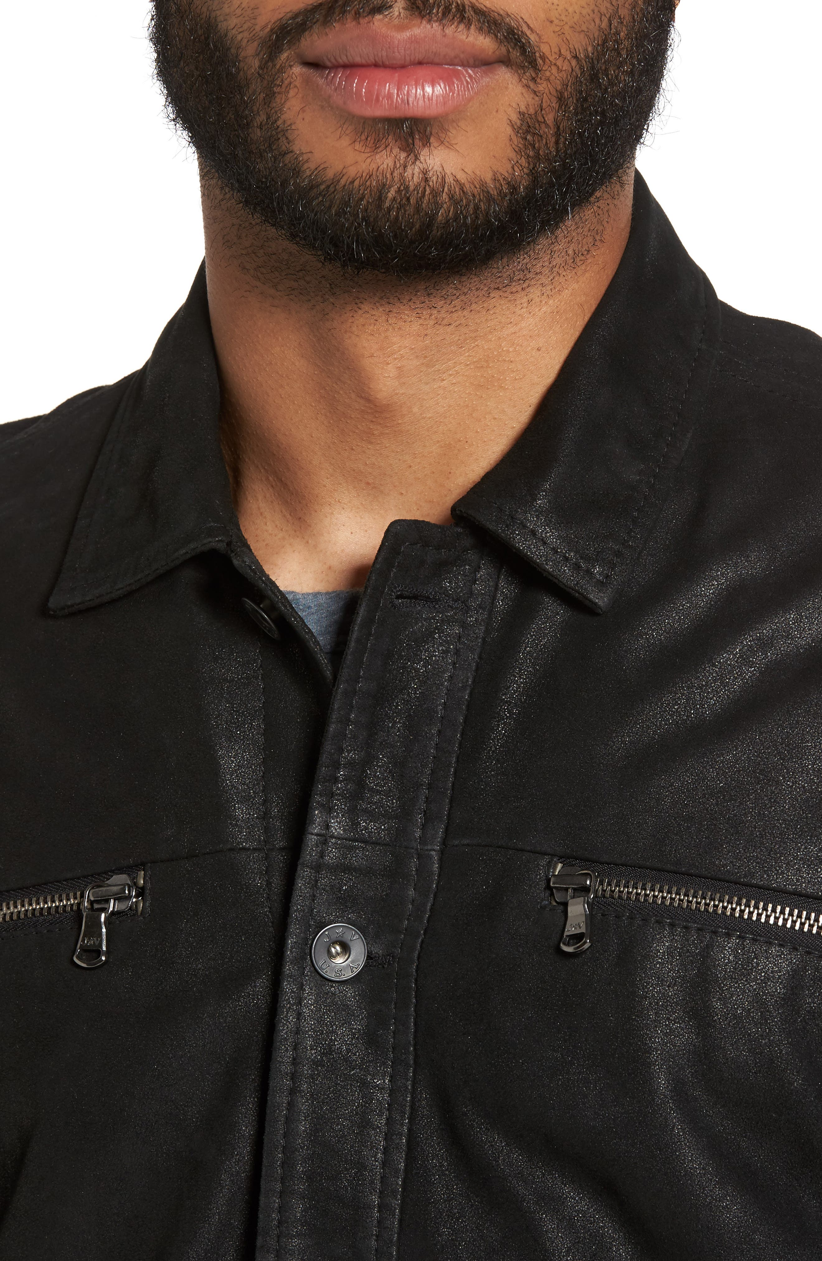 Leather Trucker Jacket,                             Alternate thumbnail 4, color,                             001