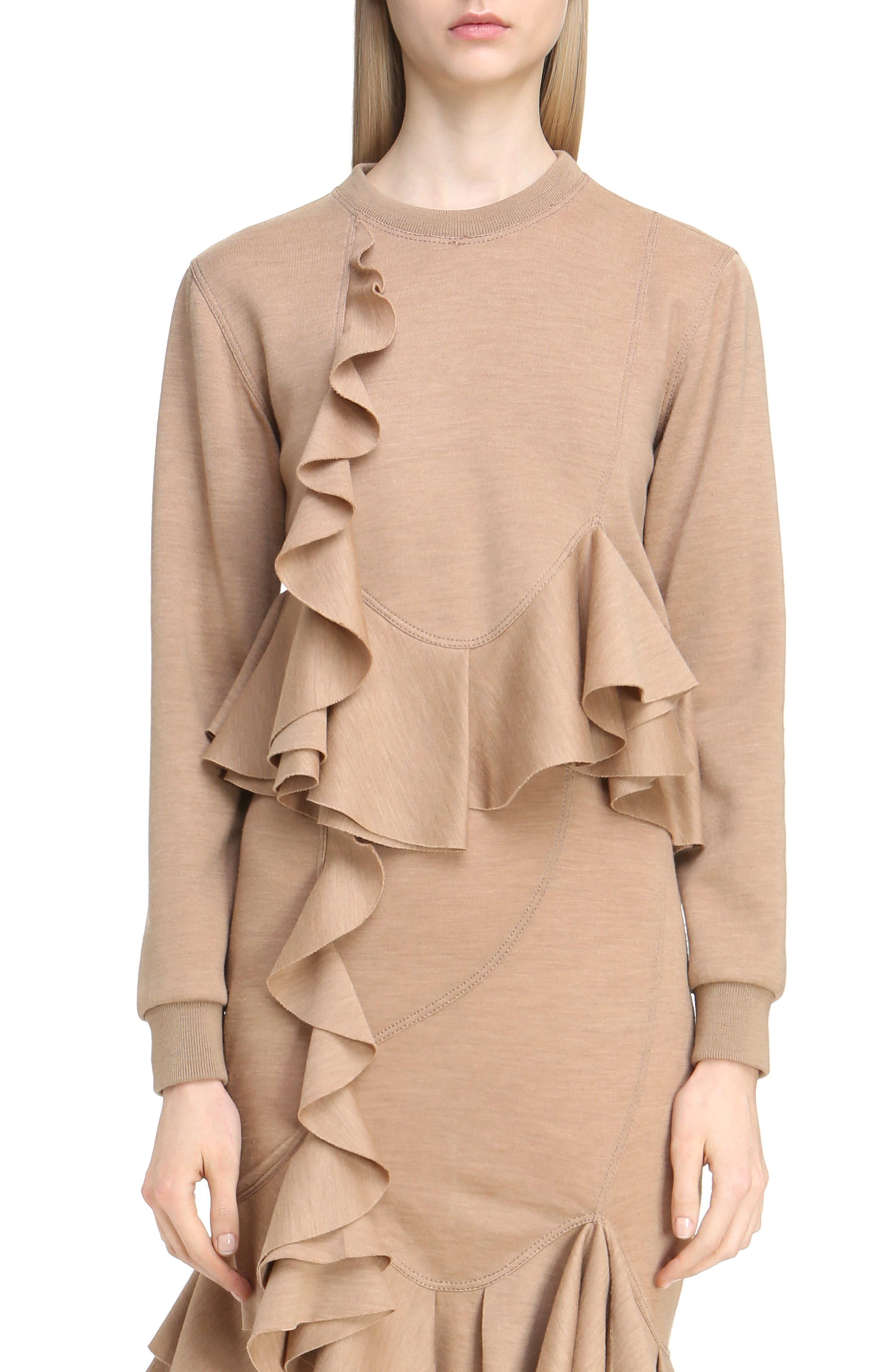 Ruffled Wool Sweatshirt,                             Main thumbnail 1, color,                             280