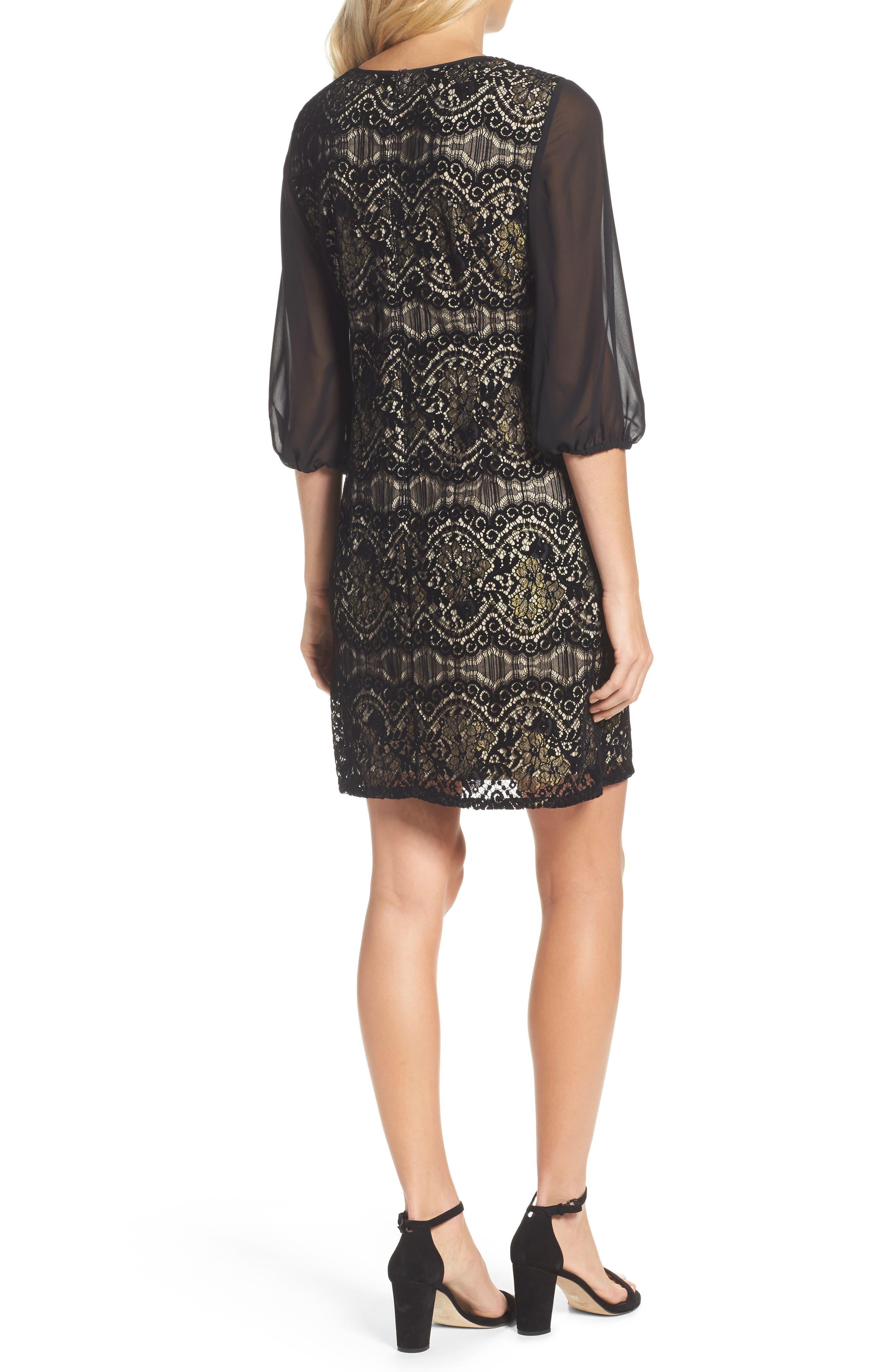Flocked Lace Shift Dress,                             Alternate thumbnail 2, color,                             001