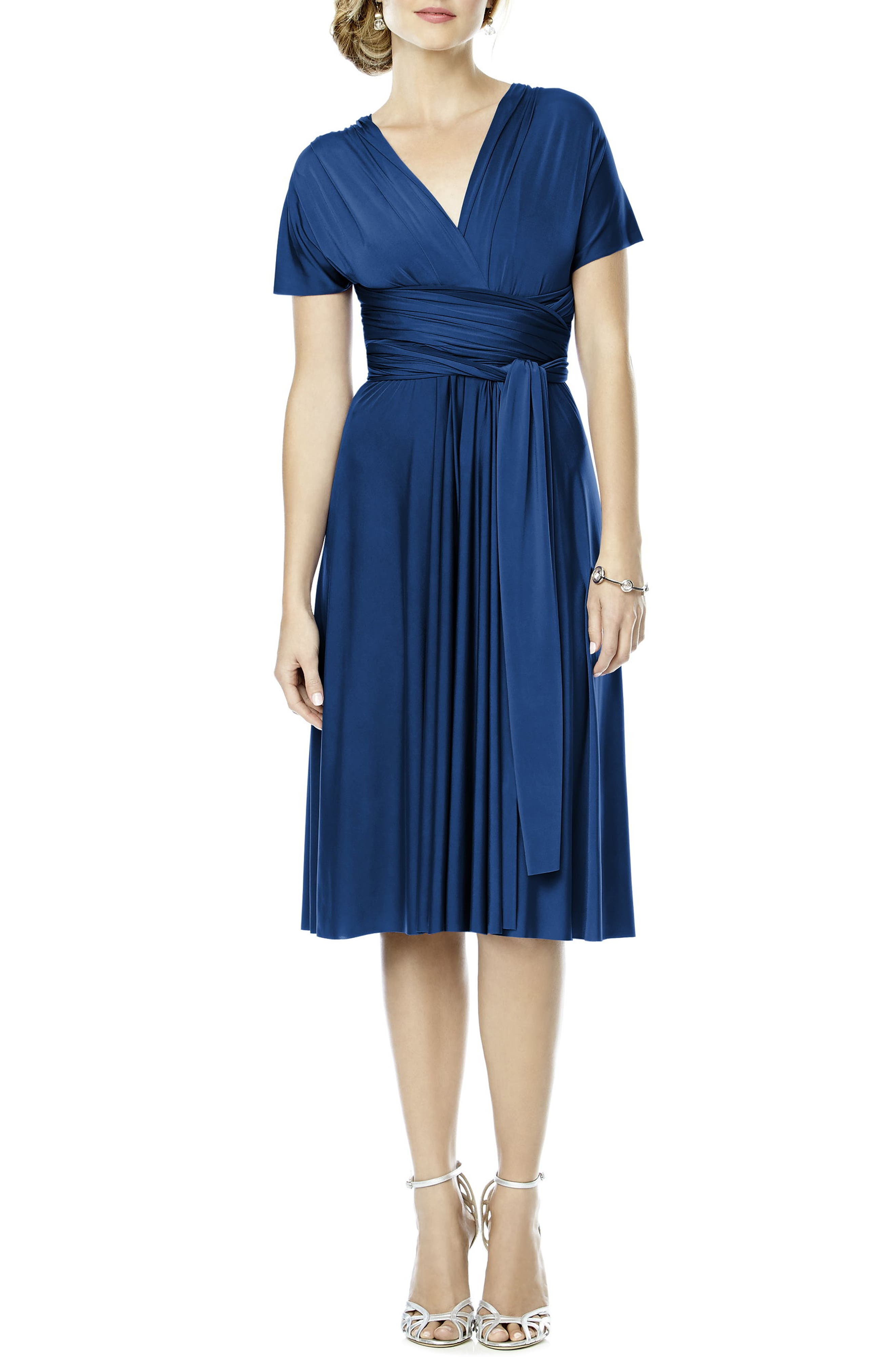 Dessy Collection Convertible Wrap Tie Surplice Jersey Dress, Blue