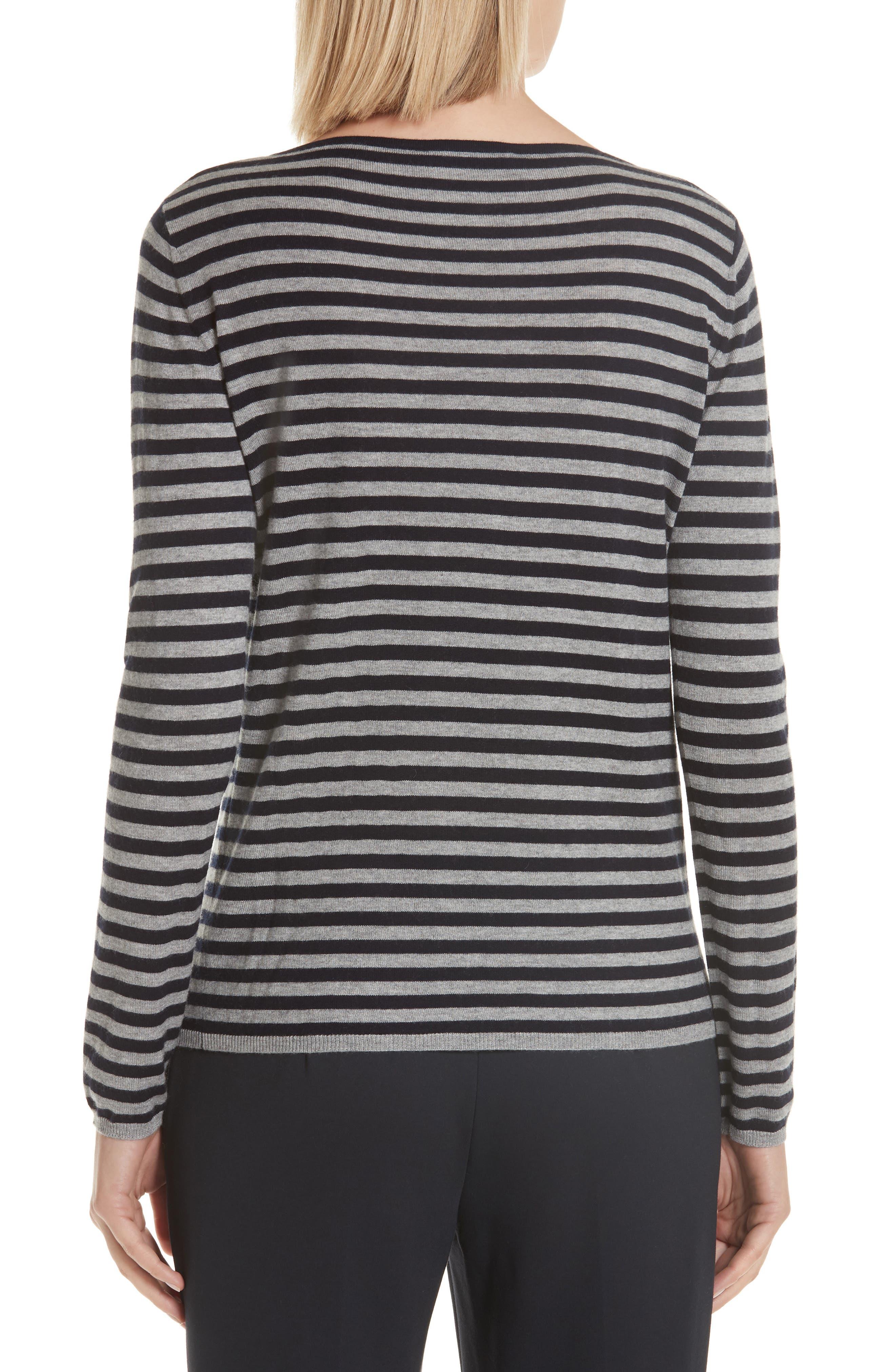 MAX MARA,                             Nardo Stripe Silk & Cashmere Sweater,                             Alternate thumbnail 2, color,                             LIGHT GREY