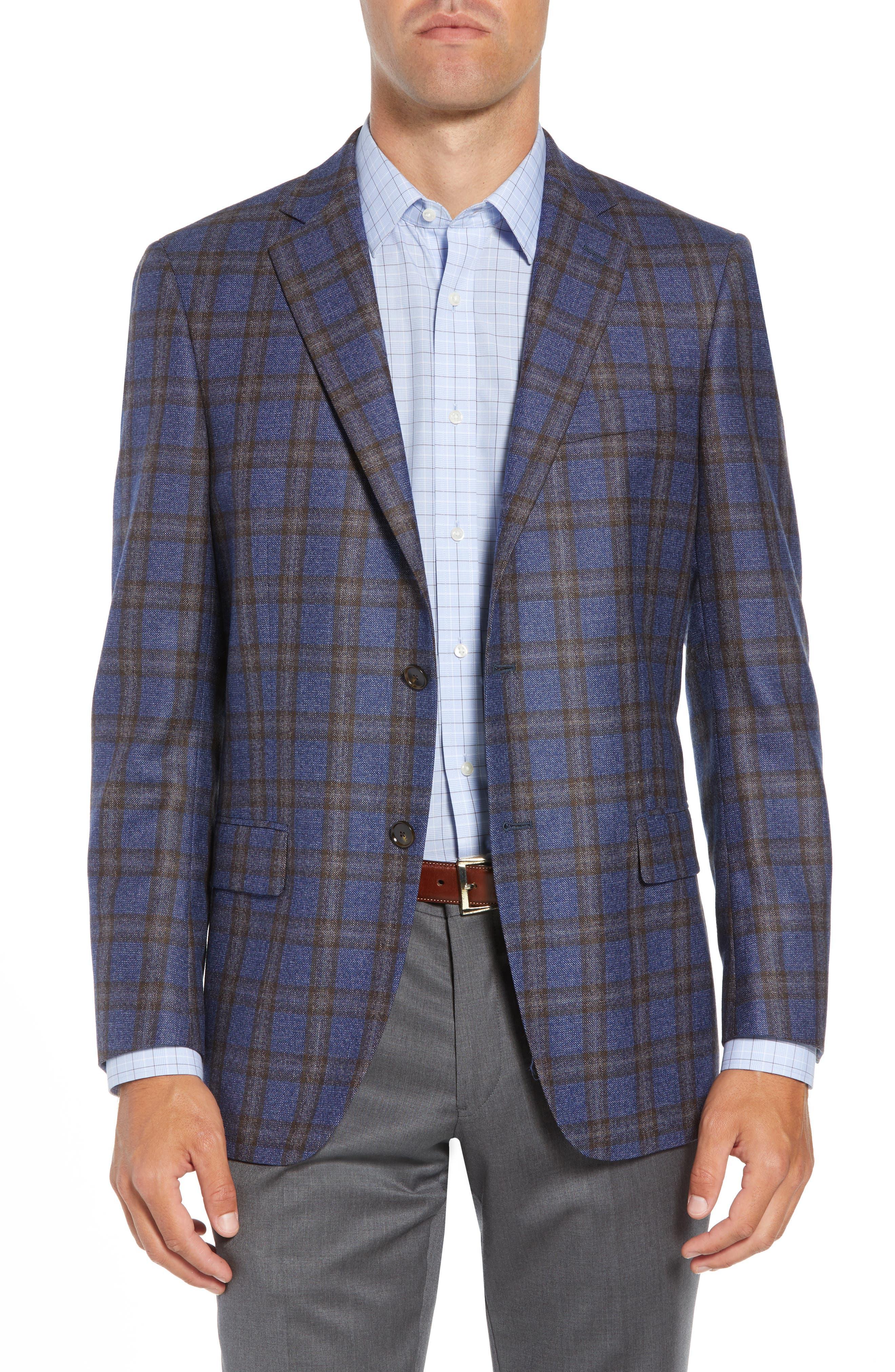 Classic Fit Plaid Wool Sport Coat,                             Main thumbnail 1, color,                             420