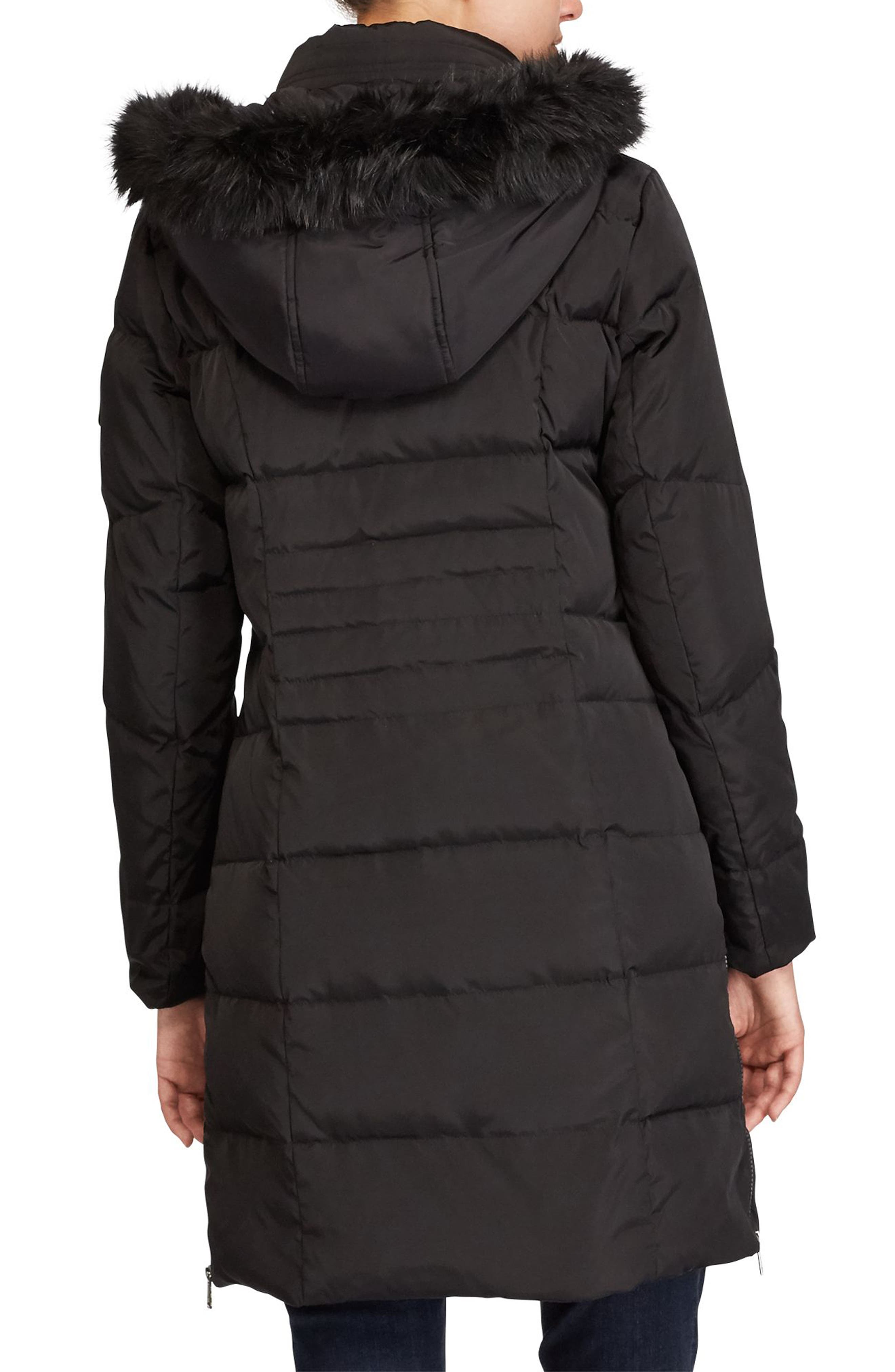 Quilted Parka with Faux Fur,                             Alternate thumbnail 2, color,                             001