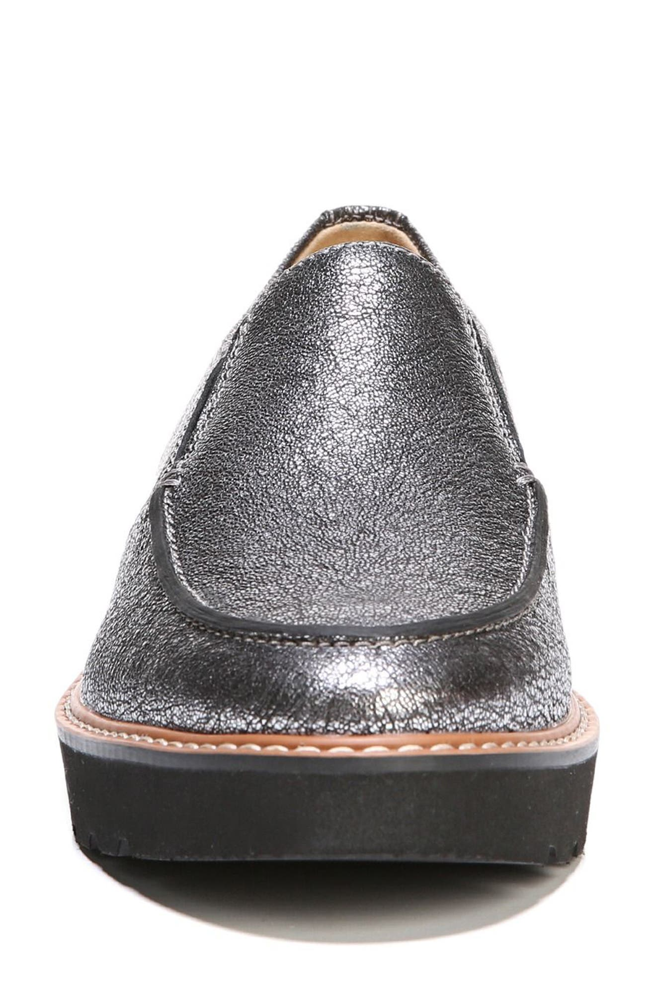 Aibileen Loafer,                             Alternate thumbnail 4, color,                             SILVER LEATHER