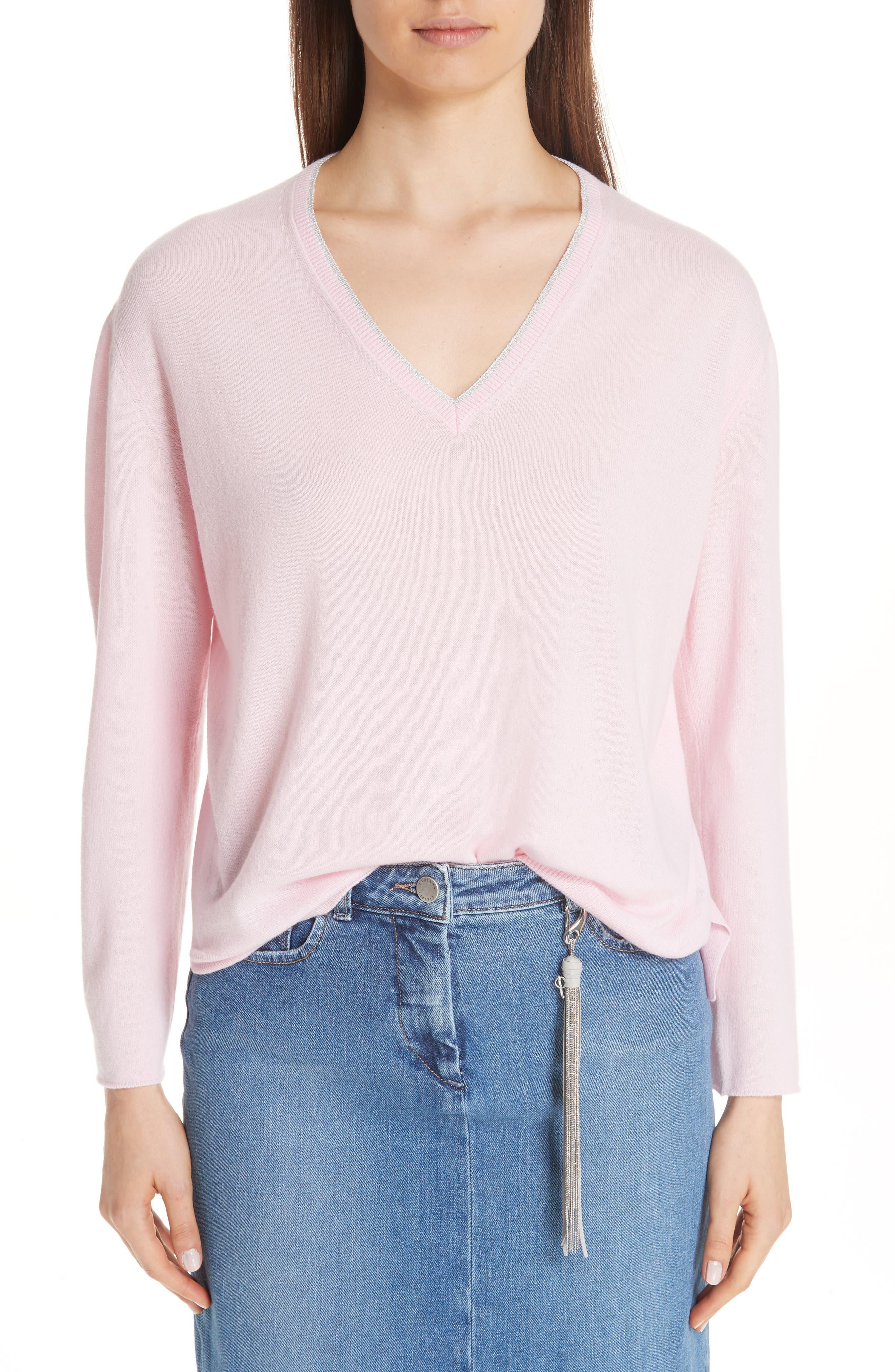 Metallic Trim Cashmere Sweater,                             Main thumbnail 1, color,                             PINK