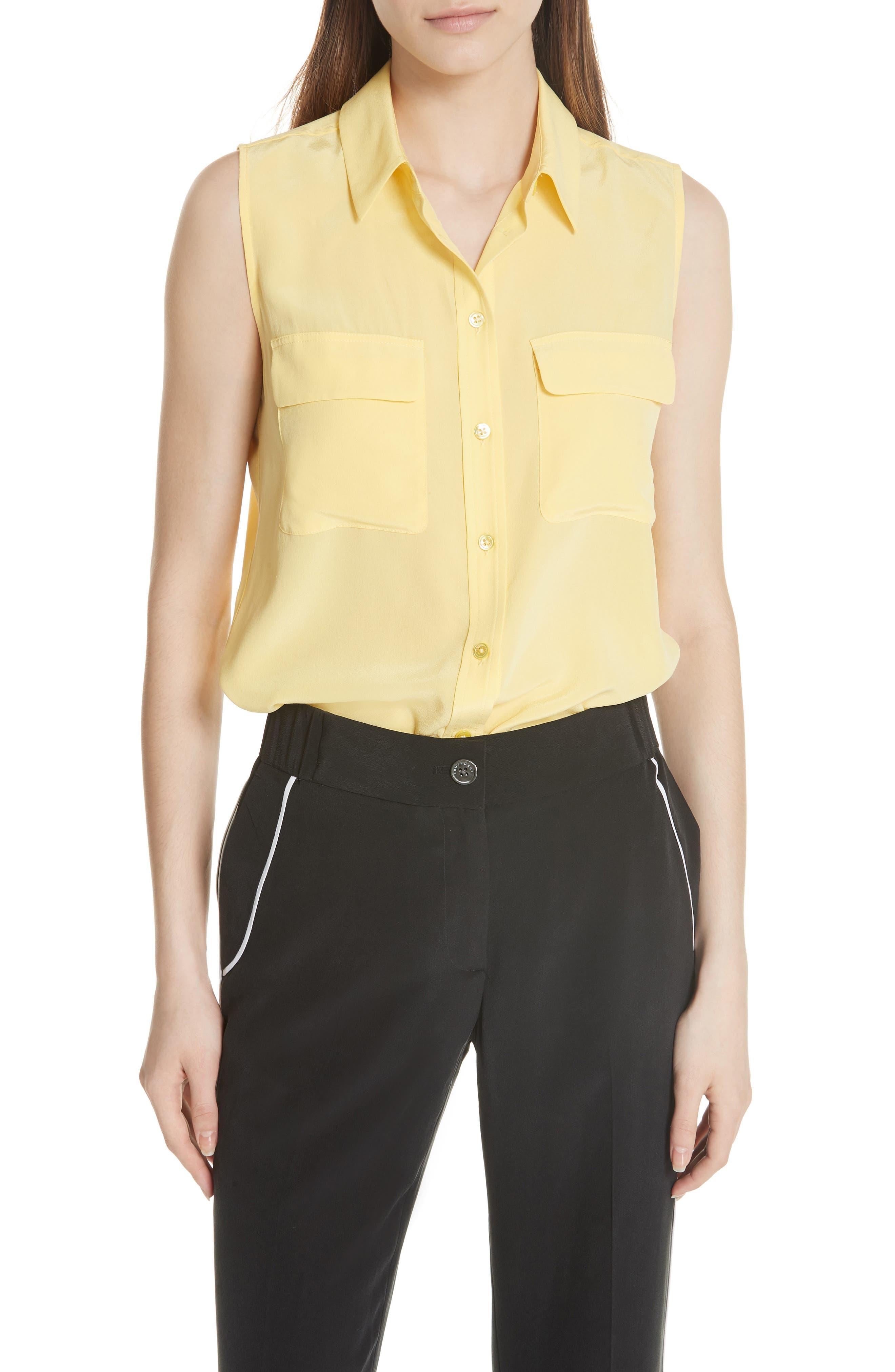 'Slim Signature' Sleeveless Silk Shirt,                             Main thumbnail 4, color,