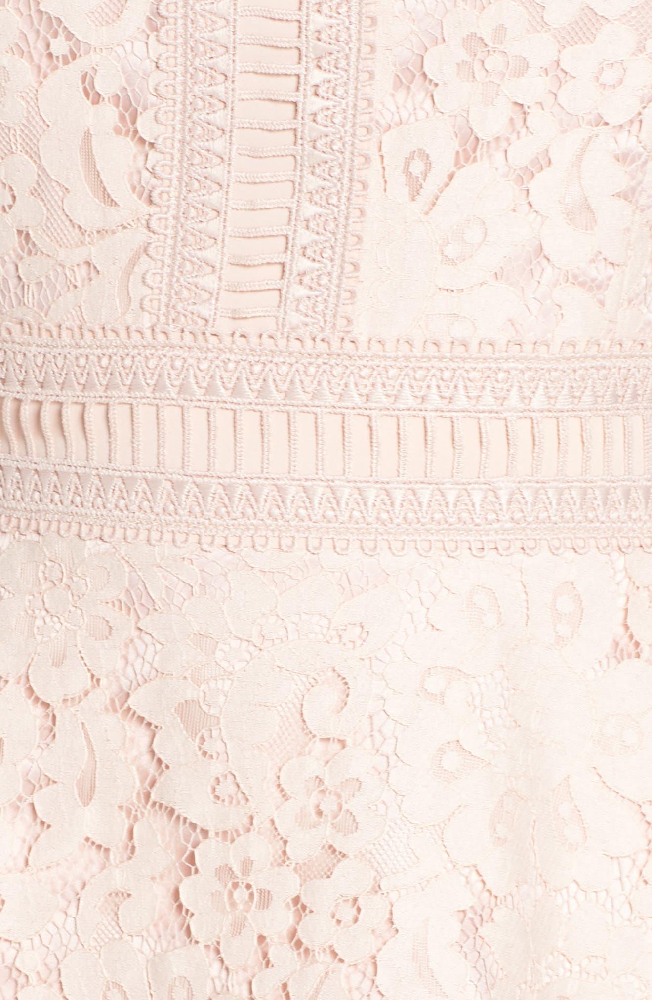 ELIZA J,                             Lace Fit & Flare Dress,                             Alternate thumbnail 6, color,                             BLUSH