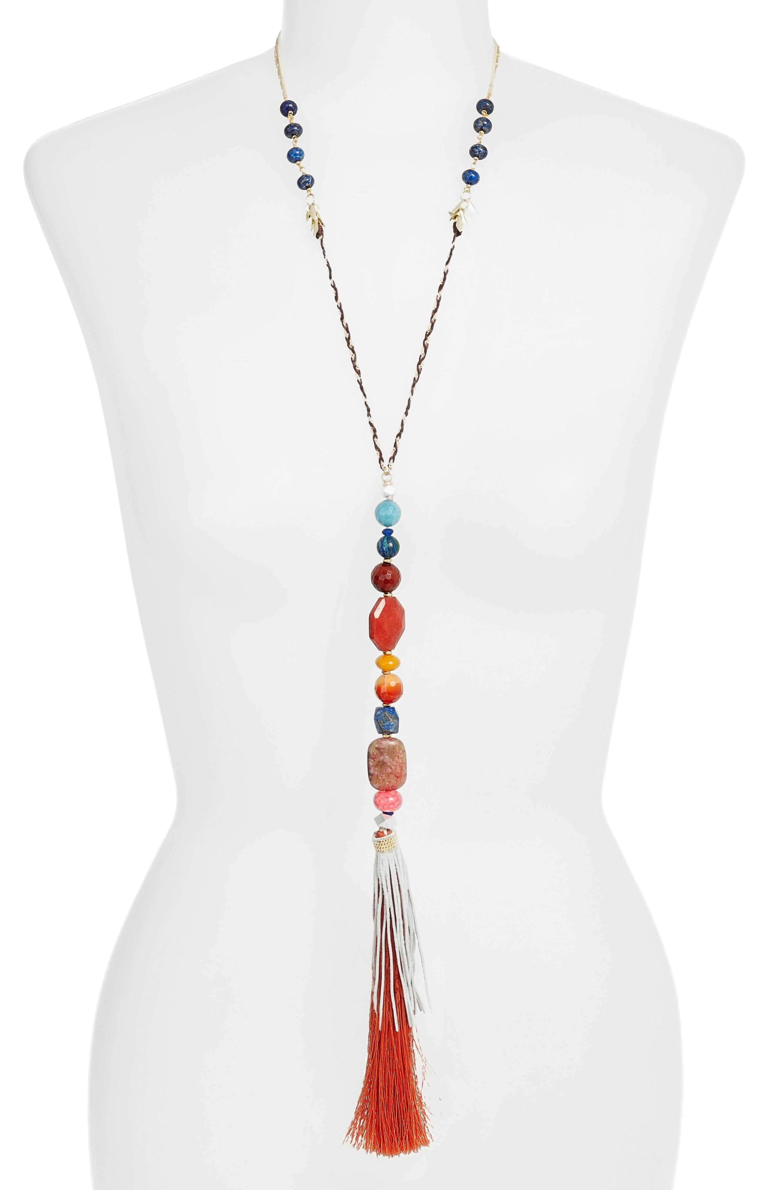 Stone & Tassel Y-Necklace,                         Main,                         color, 800