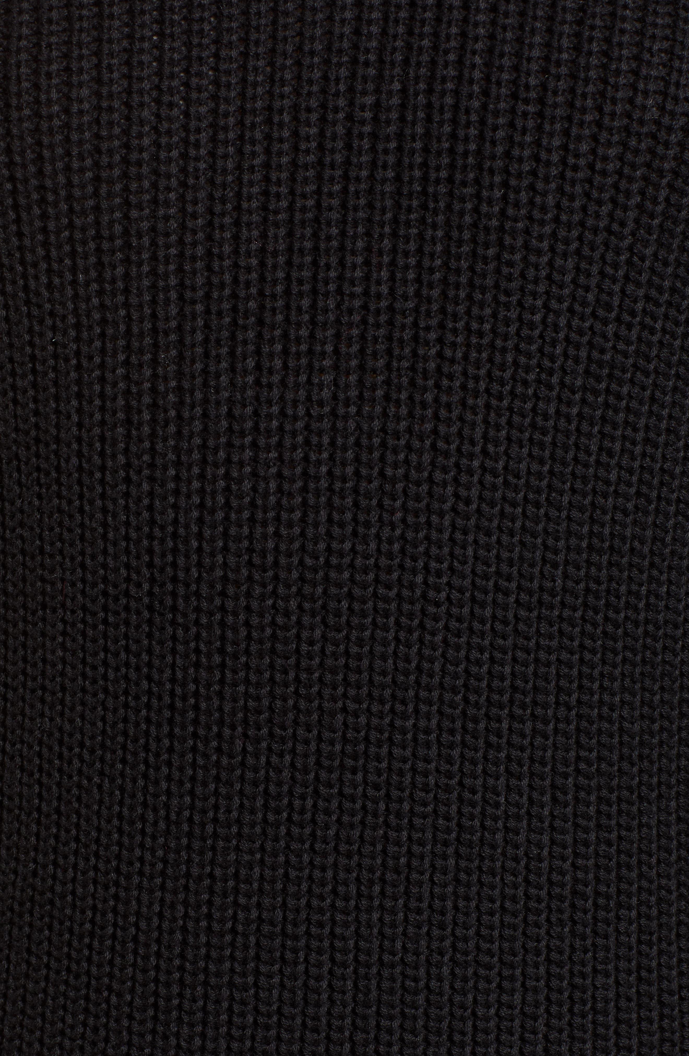 Ribbed Sweater Dress,                             Alternate thumbnail 6, color,                             BLACK