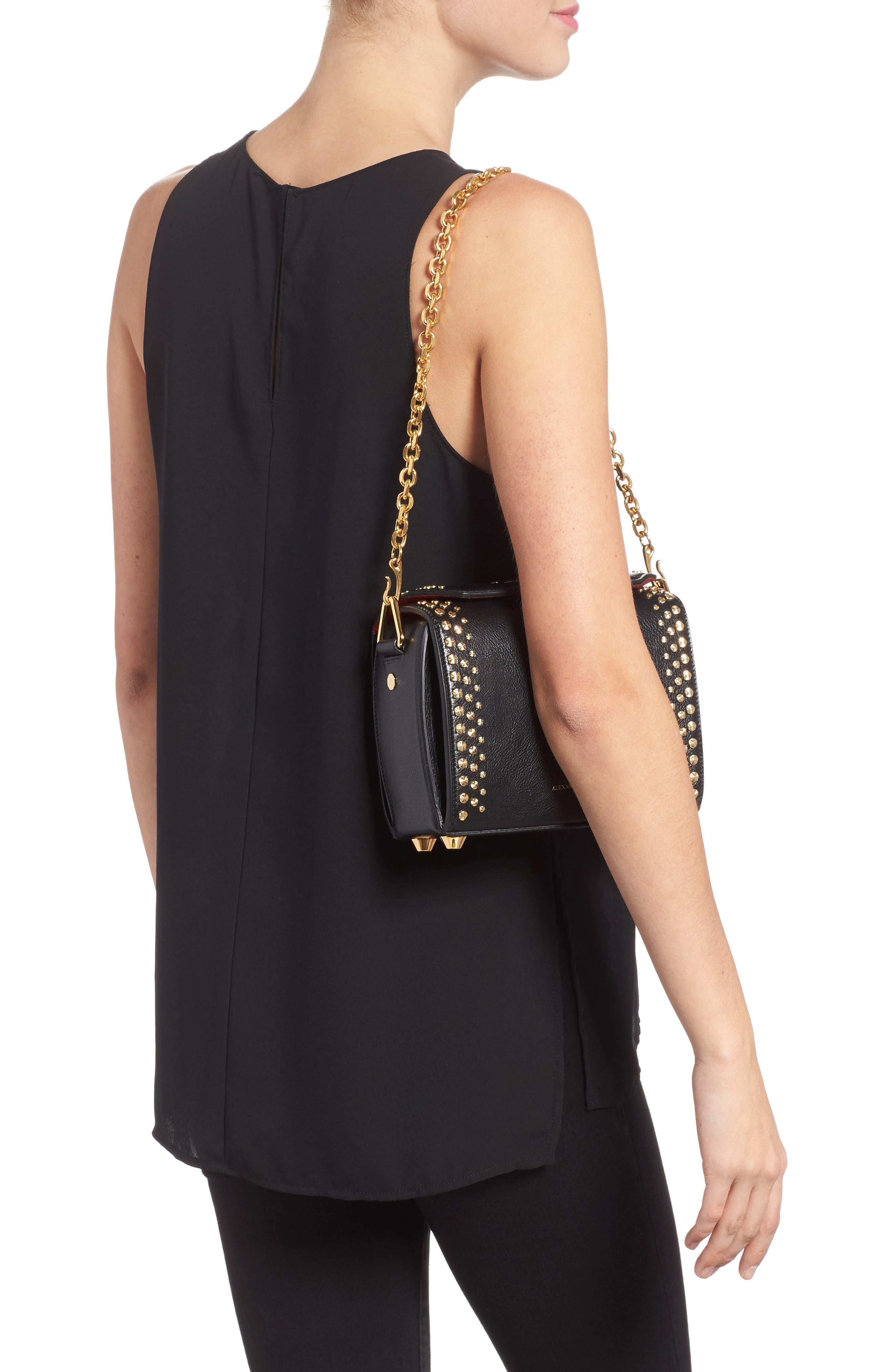 Box Bag 19 Studded Leather Bag,                             Alternate thumbnail 2, color,                             BLACK
