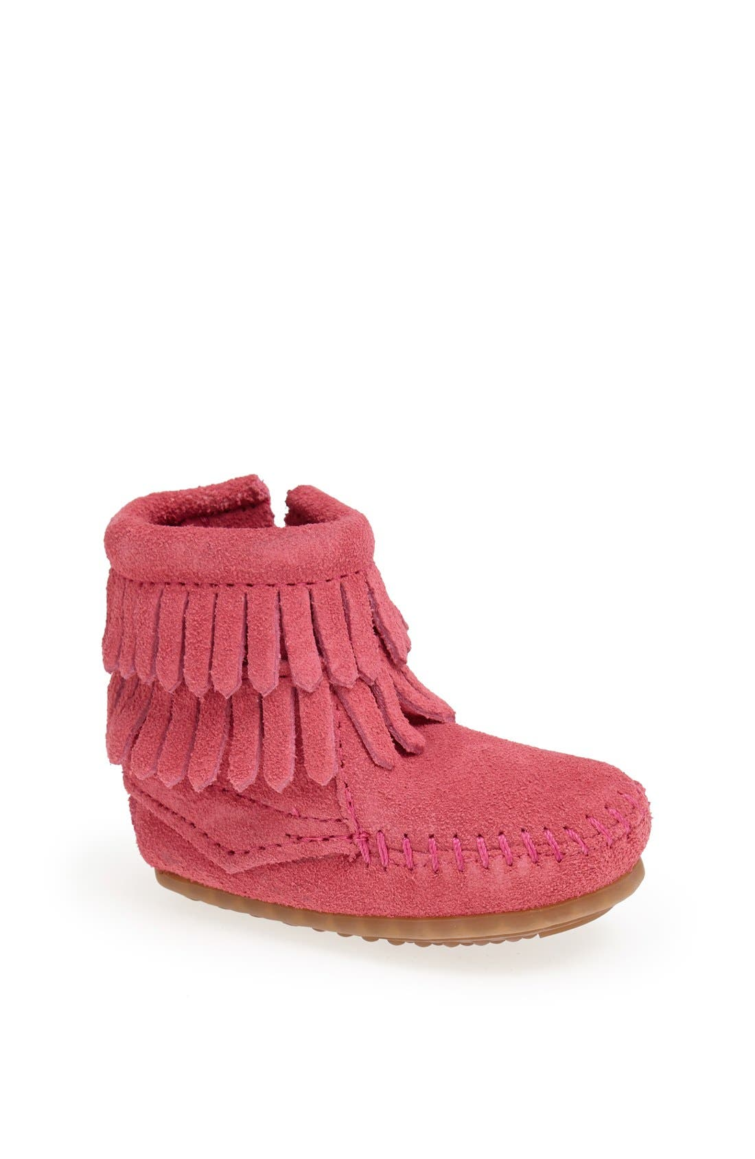 Double Fringe Moccasin,                         Main,                         color, HOT PINK
