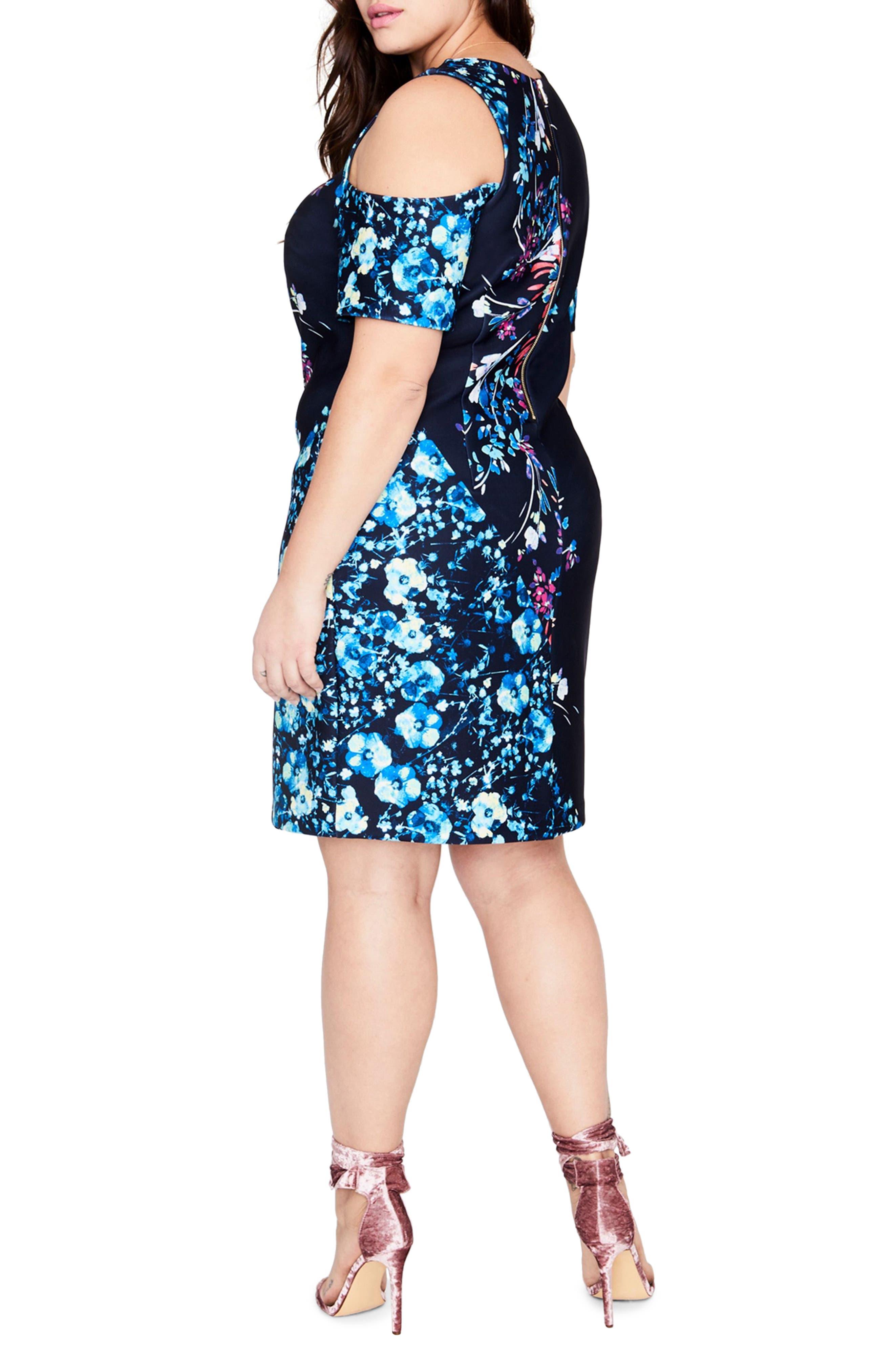 Printed Cold Shoulder Sheath Dress,                             Alternate thumbnail 3, color,                             432