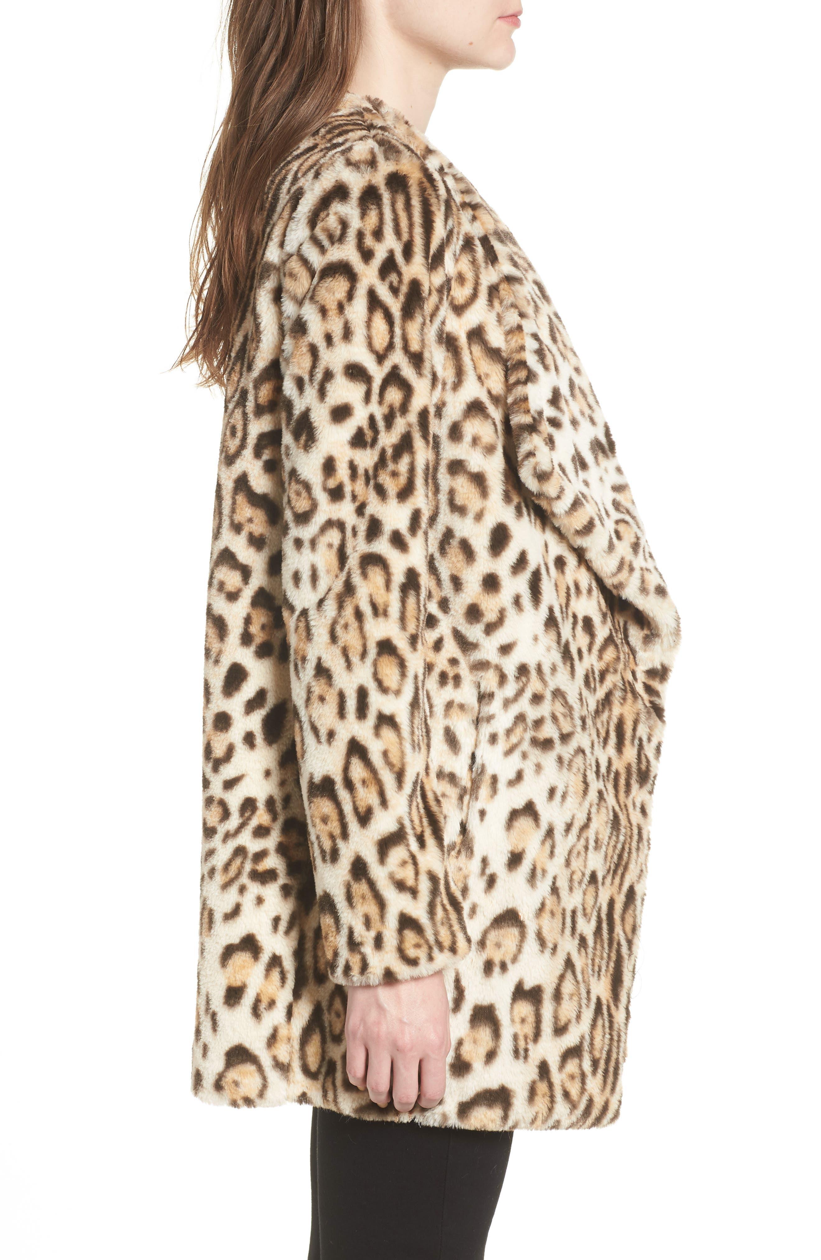 Leopard Faux Fur Jacket,                             Alternate thumbnail 3, color,                             210