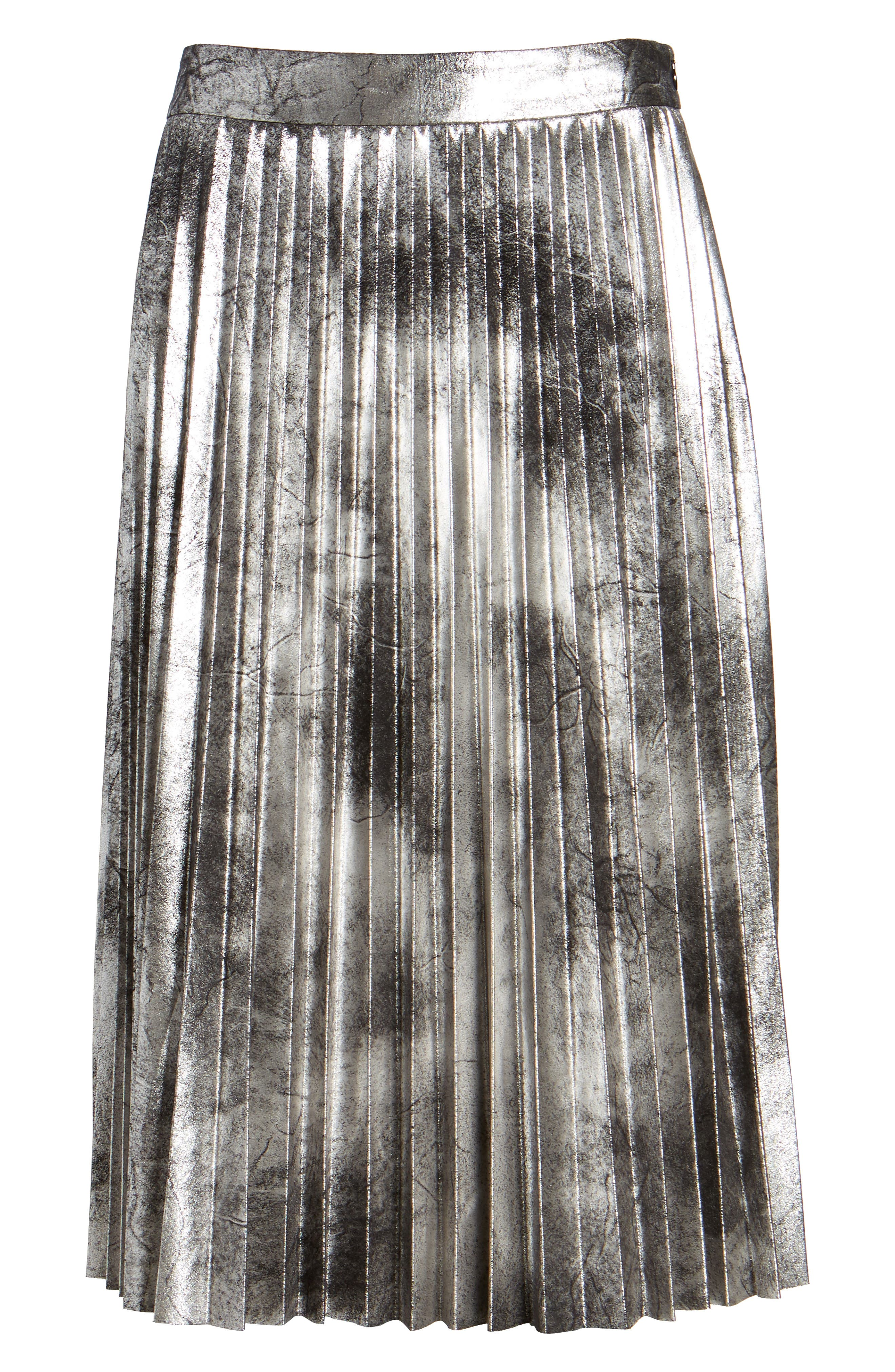 Metallic Pleated Skirt,                             Alternate thumbnail 6, color,                             001