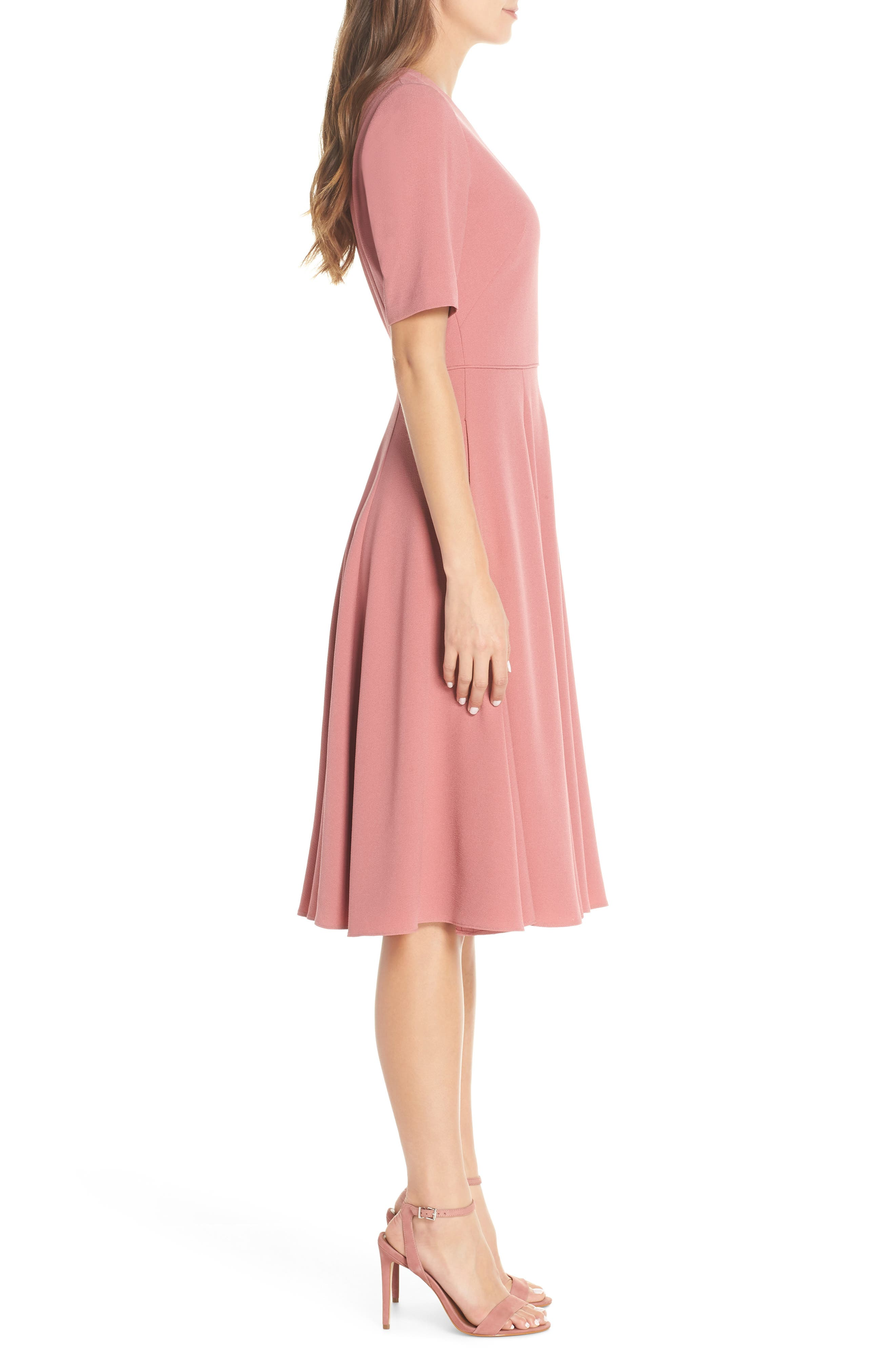 Edith City Crepe Fit & Flare Midi Dress,                             Alternate thumbnail 3, color,                             UPTOWN PINK