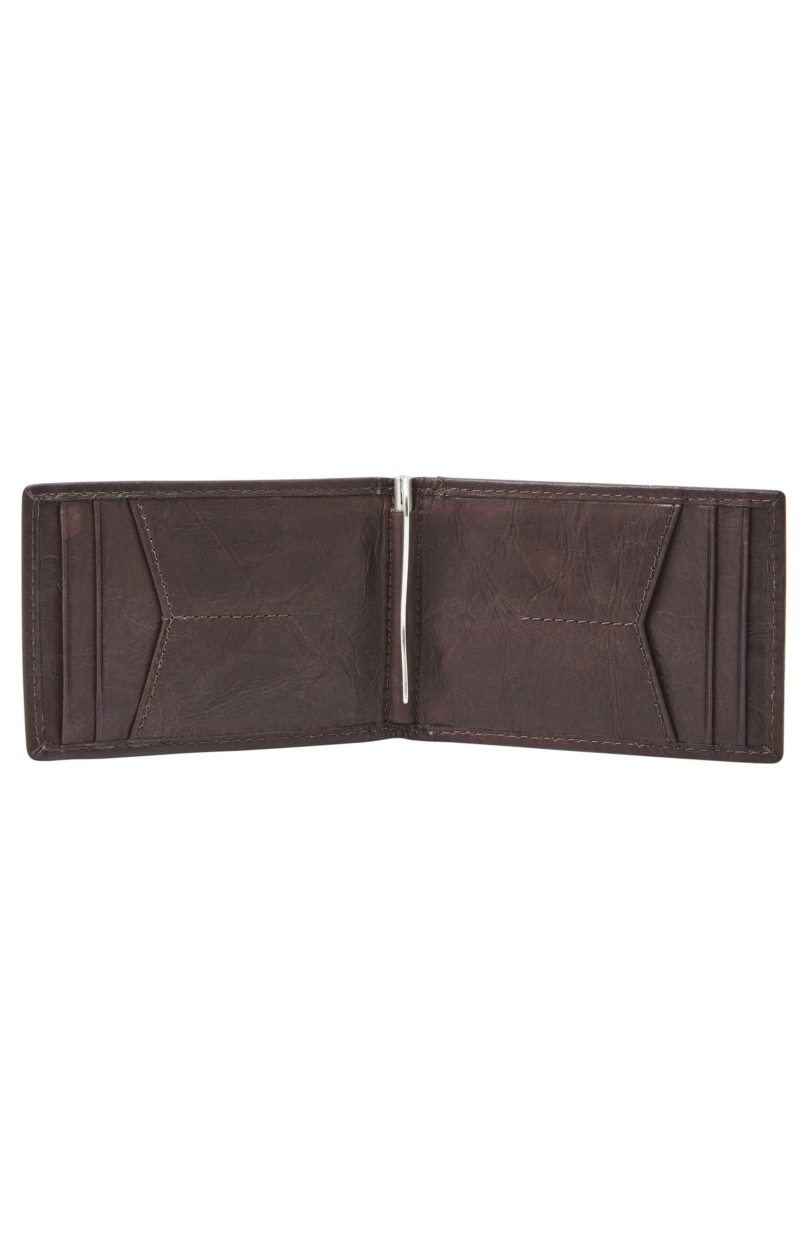 FOSSIL,                             Neel Leather Money Clip Wallet,                             Alternate thumbnail 2, color,                             BROWN