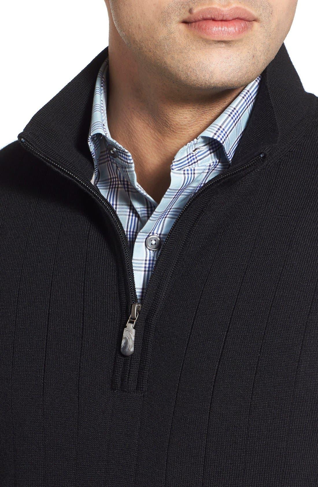 Quarter Zip Wool Sweater Vest,                             Alternate thumbnail 4, color,                             001