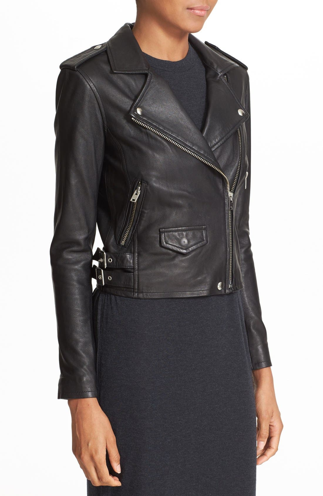 'Ashville' Lambskin Leather Moto Jacket,                             Alternate thumbnail 3, color,                             BLACK