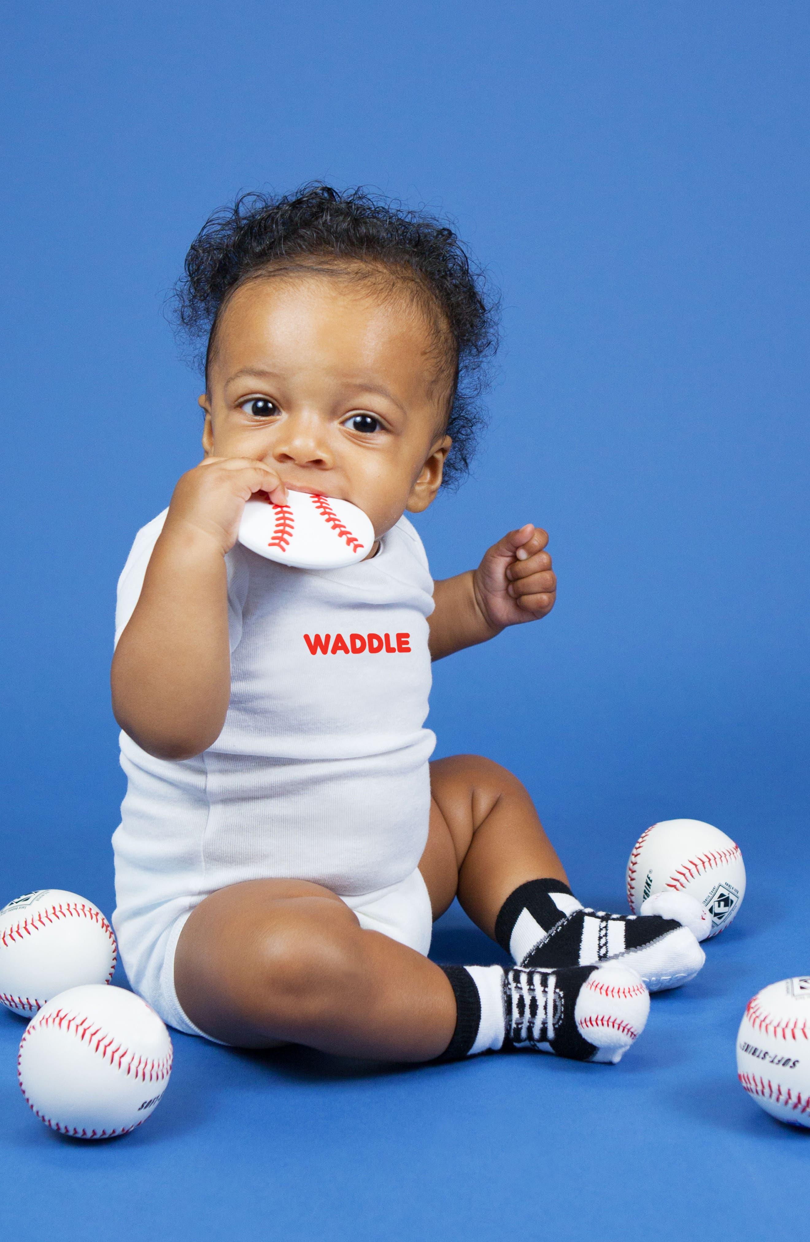 Baseball Rattle Socks & Teether Gift Set,                             Alternate thumbnail 3, color,                             WHITE