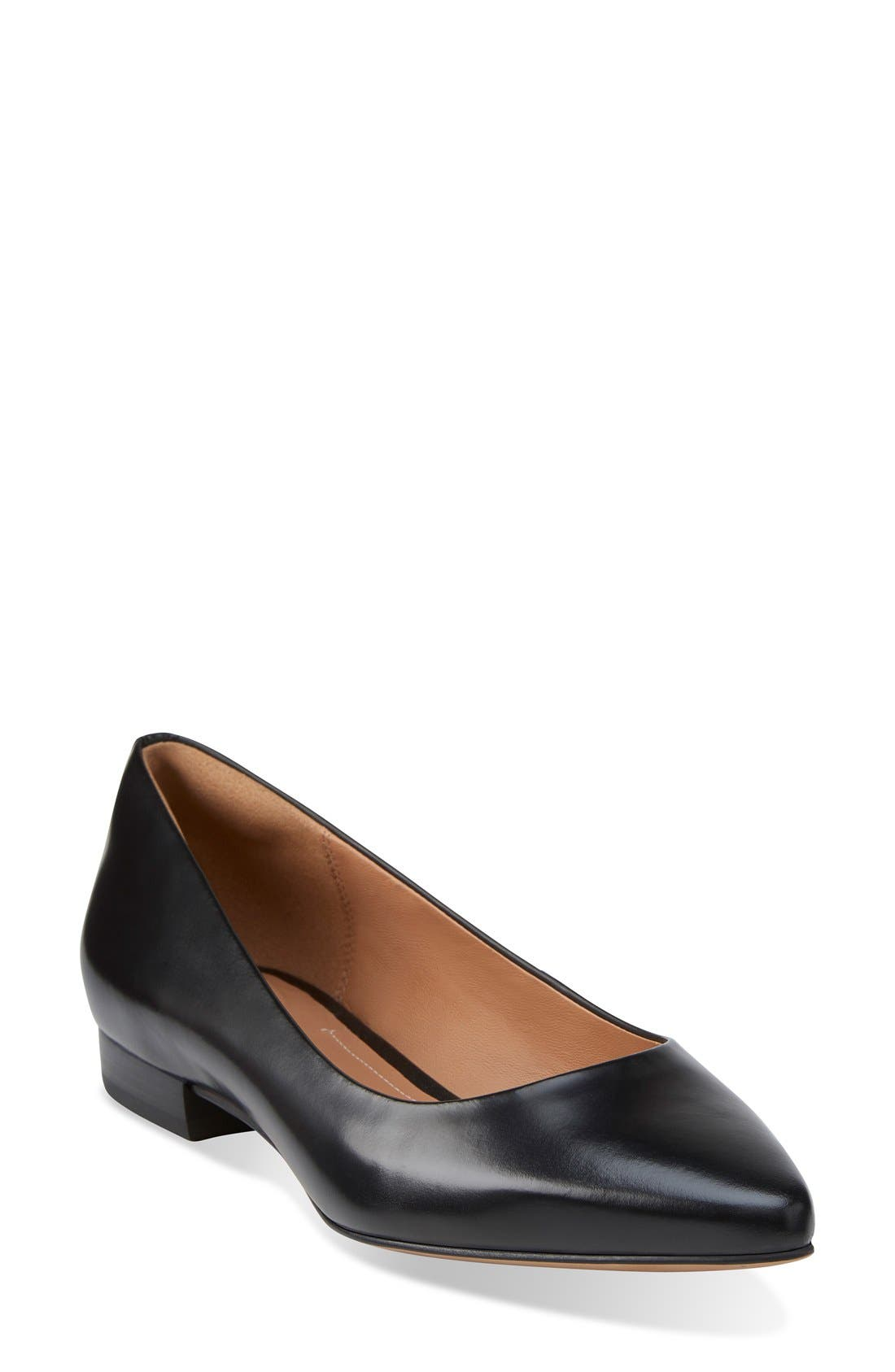 CLARKS<SUP>®</SUP> 'Corabeth Abby' Pointy Toe Flat, Main, color, 003