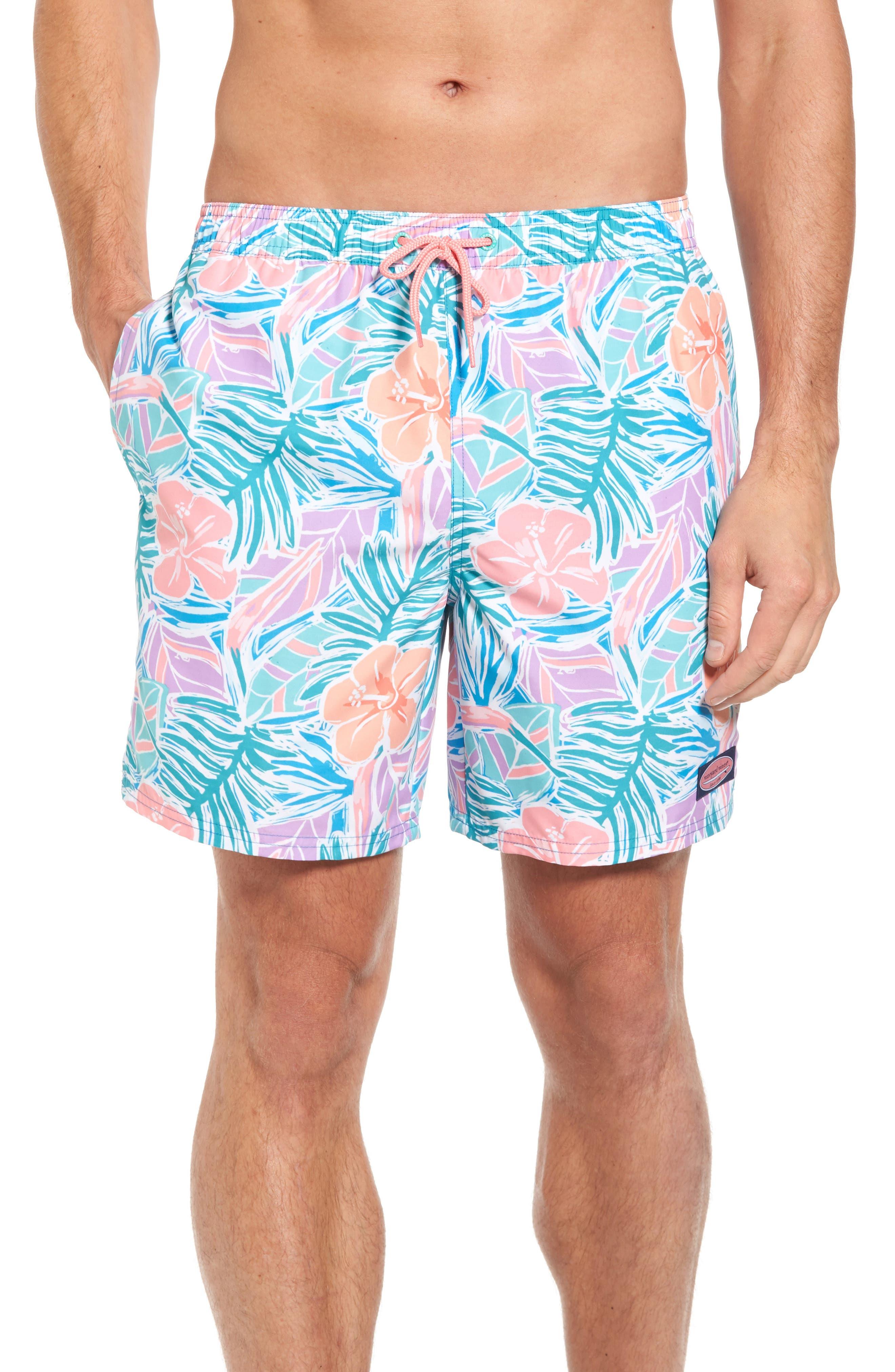 Chappy Gulf Tropical Print Swim Trunks,                         Main,                         color, 400
