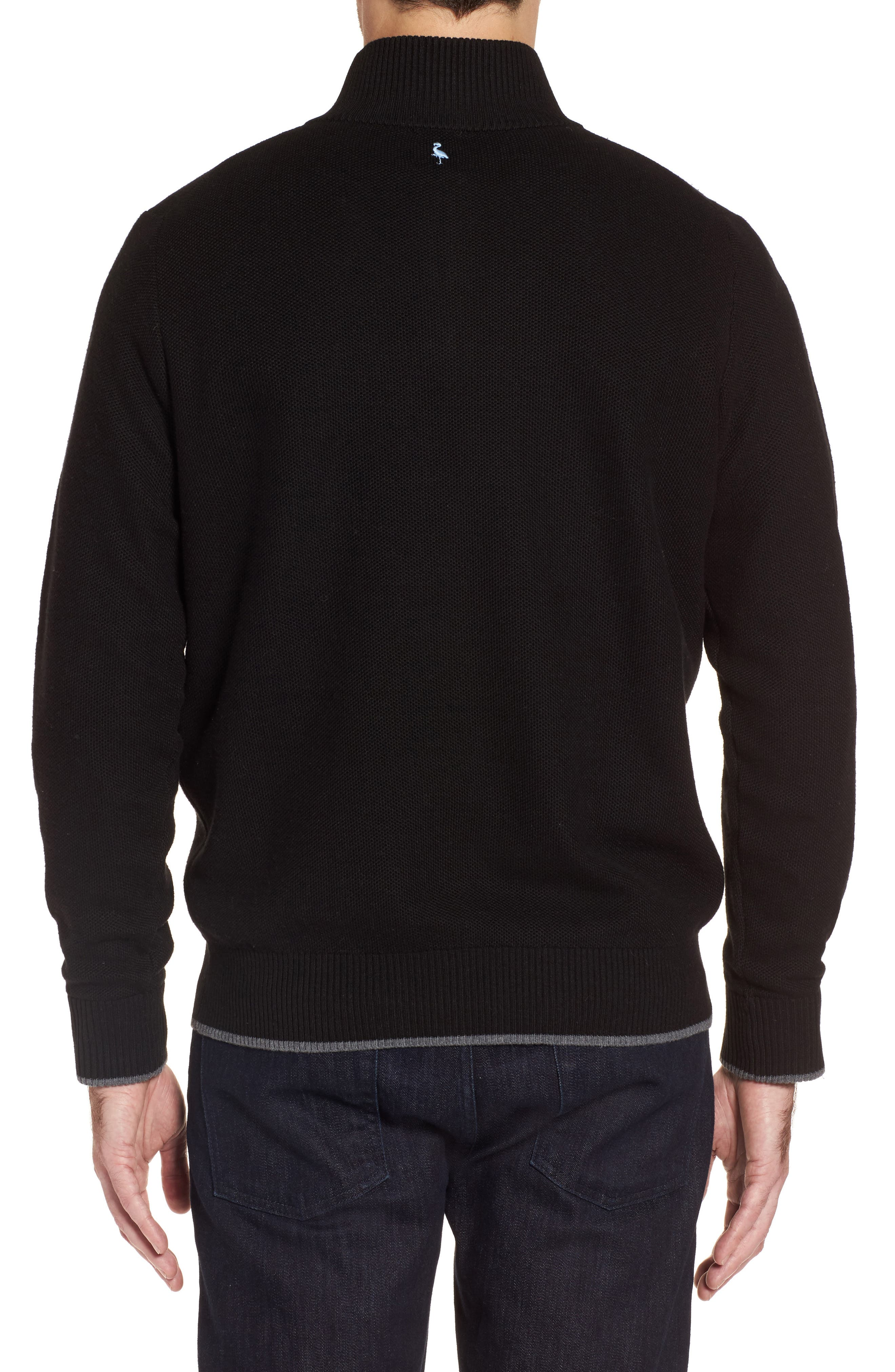 Lafitte Tipped Quarter Zip Sweater,                             Alternate thumbnail 2, color,                             001