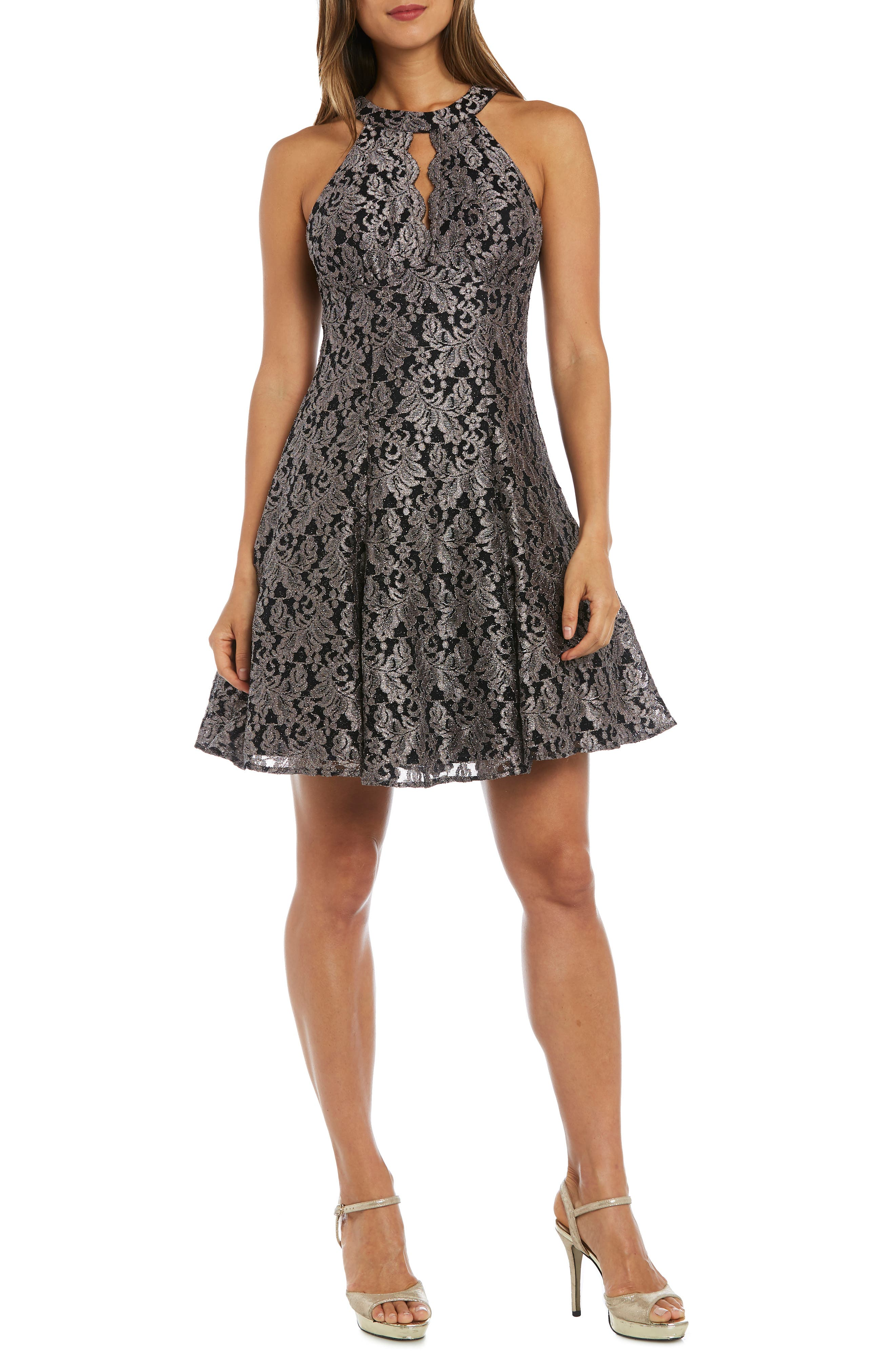 Morgan & Co. Lace Fit & Flare Dress, Black